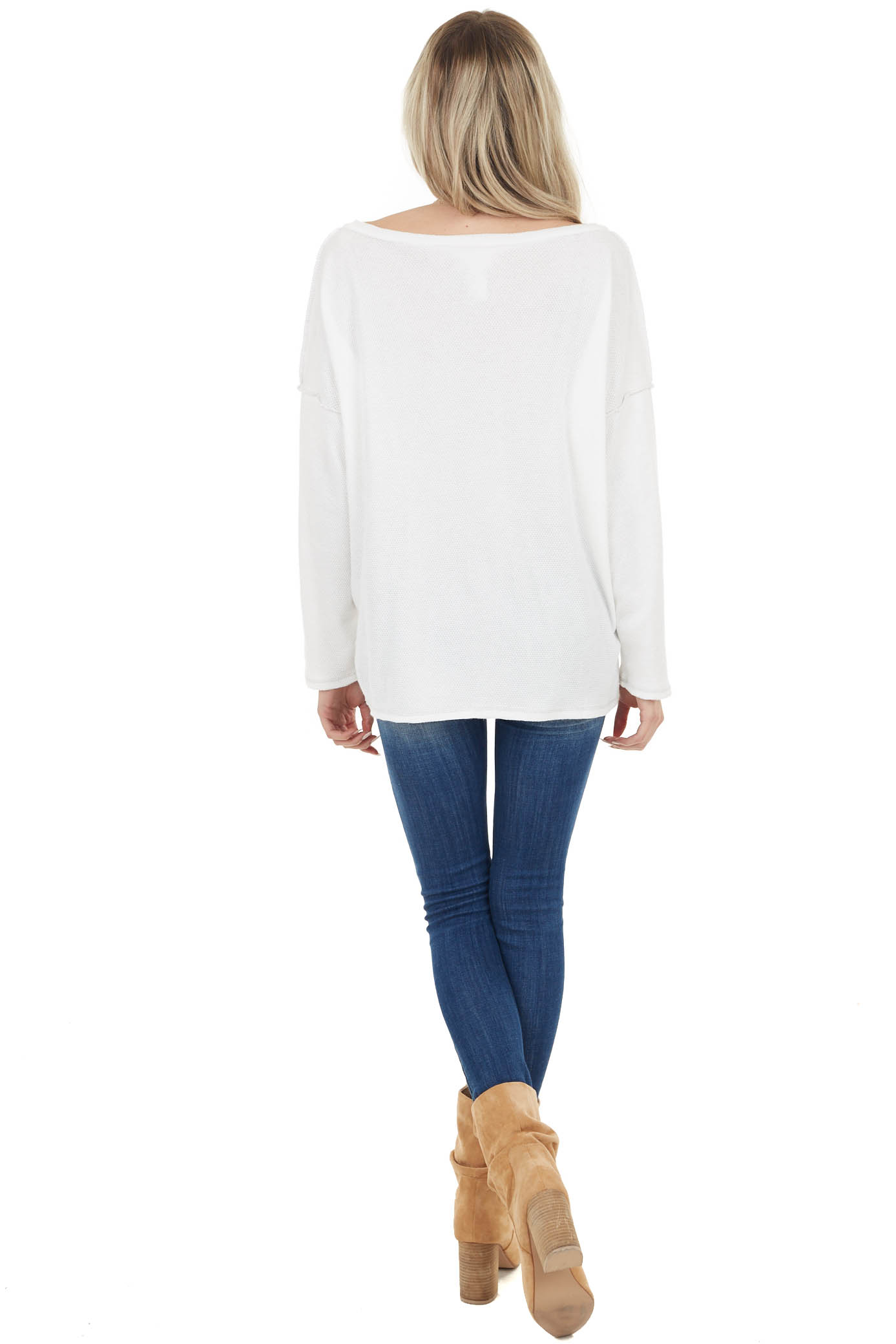 White Henley Top with Reversed Seam Details
