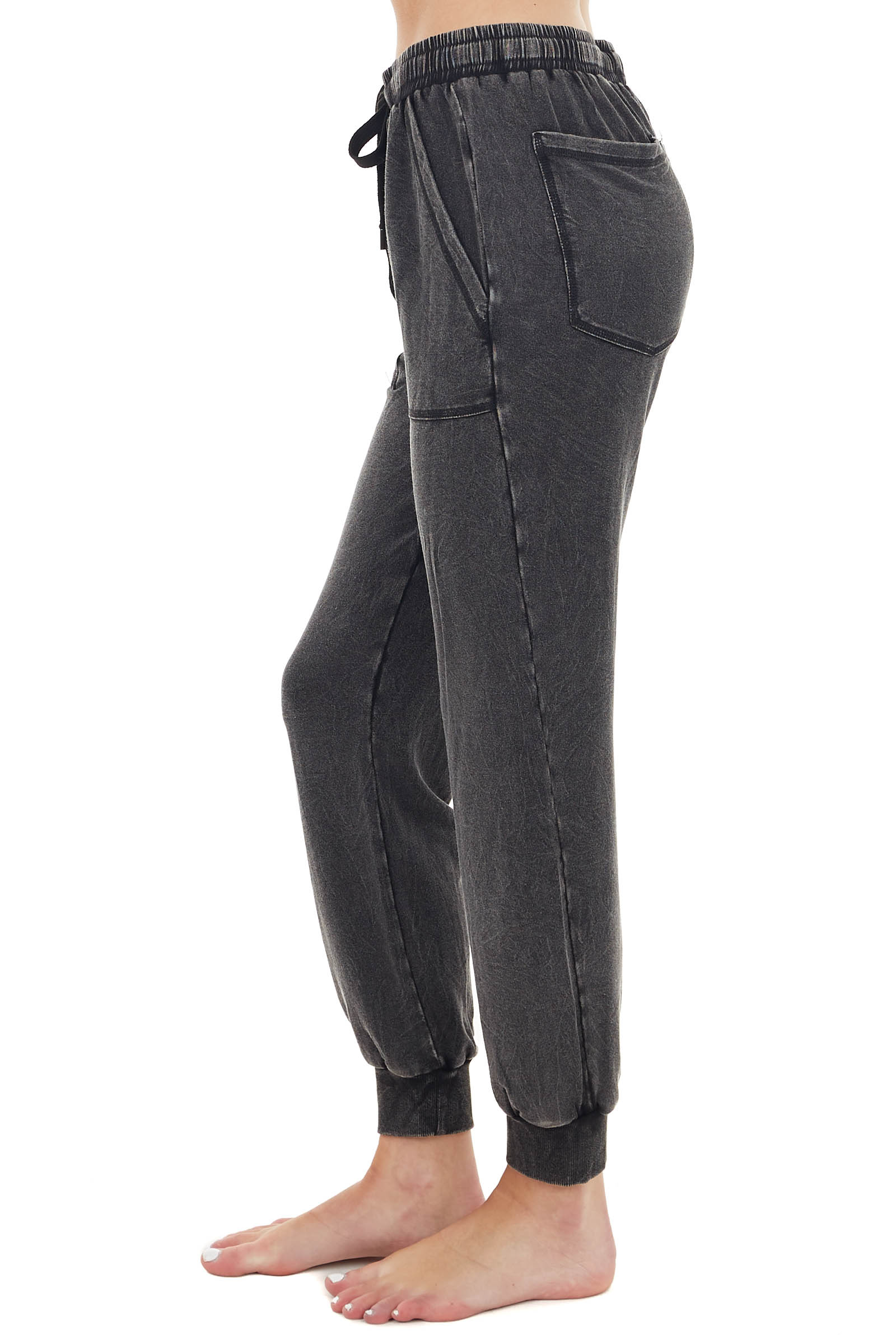 Vintage Black Lightweight Jogger Pants with Pockets