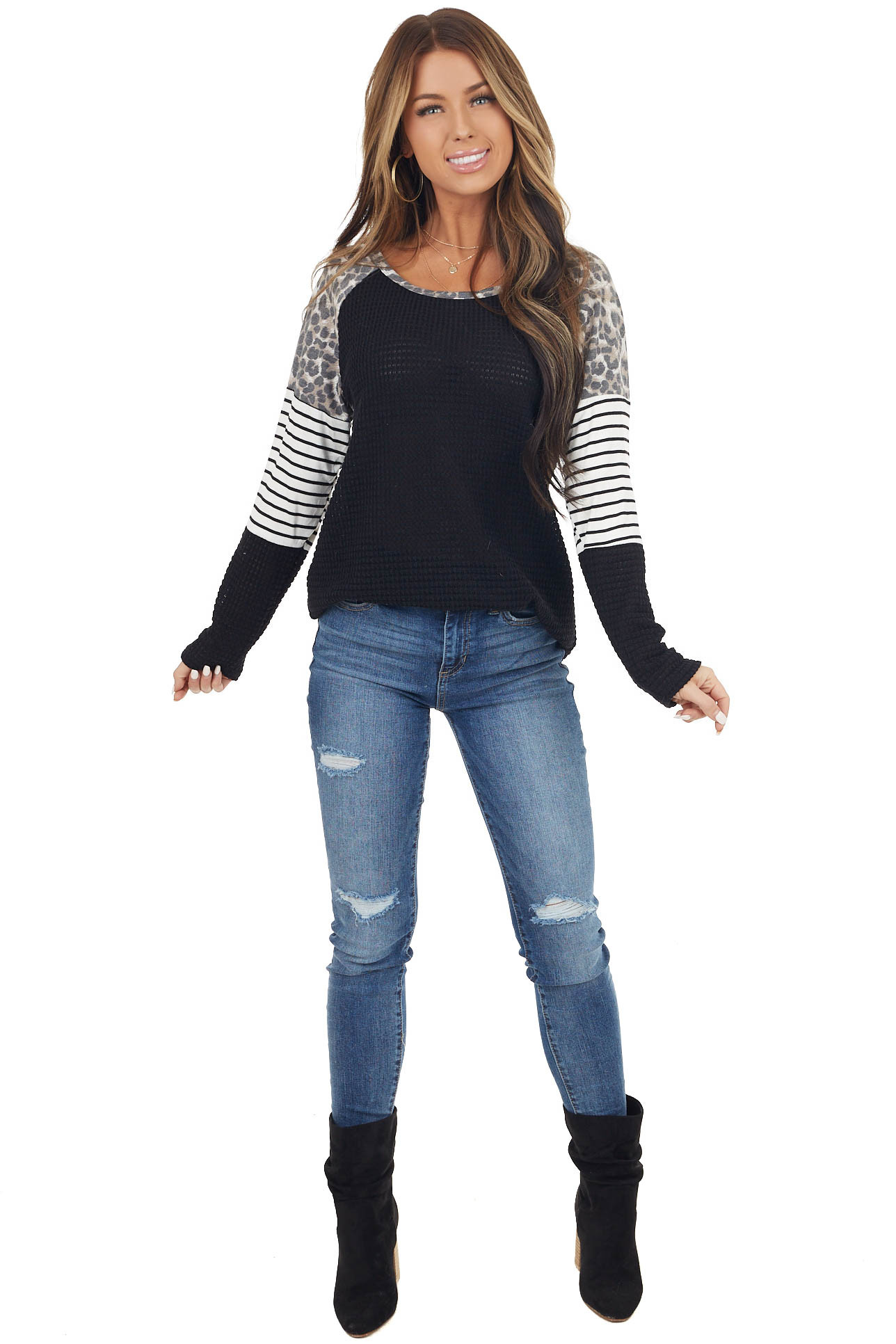 Black Waffle Knit Top with Striped and Leopard Print Contrast