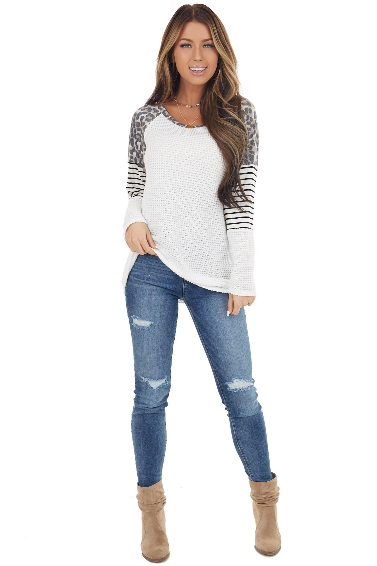 White Waffle Knit Top with Striped and Leopard Print Contrast