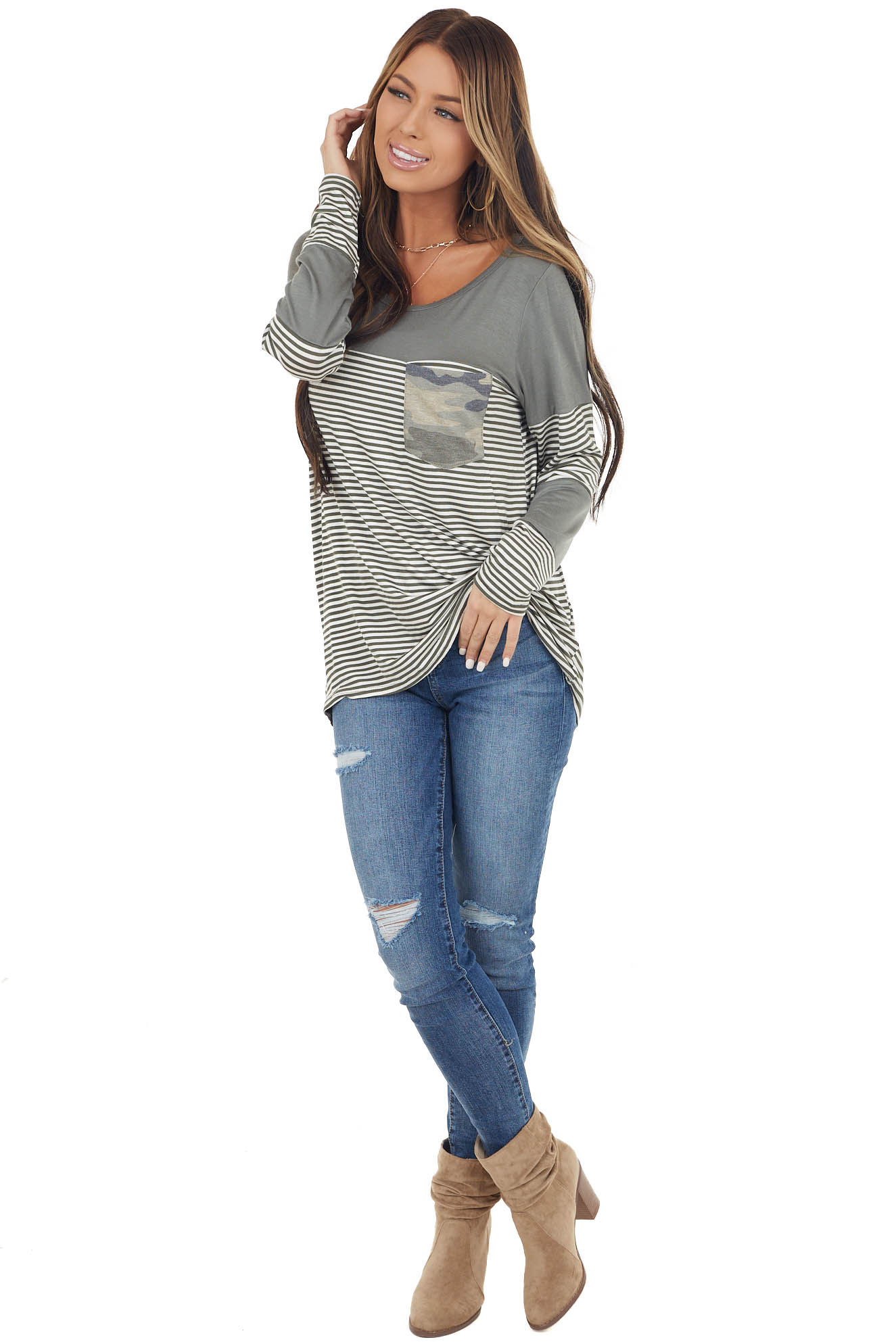 Faded Olive Striped Knit Top with Camo Chest Pocket