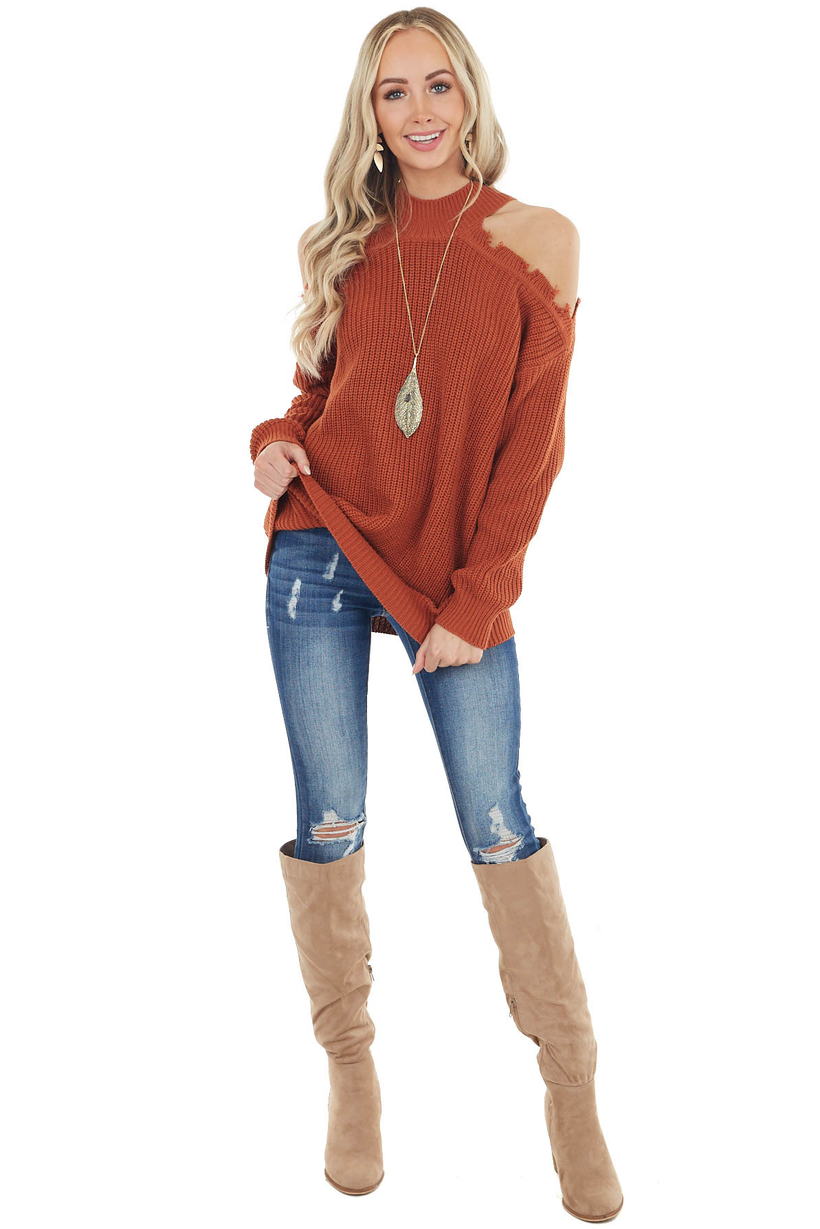Tawny Stretchy Knit Distressed Cold Shoulder Sweater