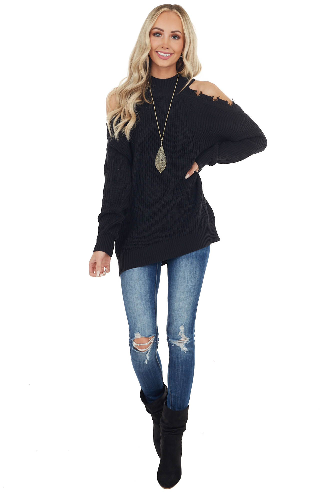 Black Stretchy Knit Distressed Cold Shoulder Sweater