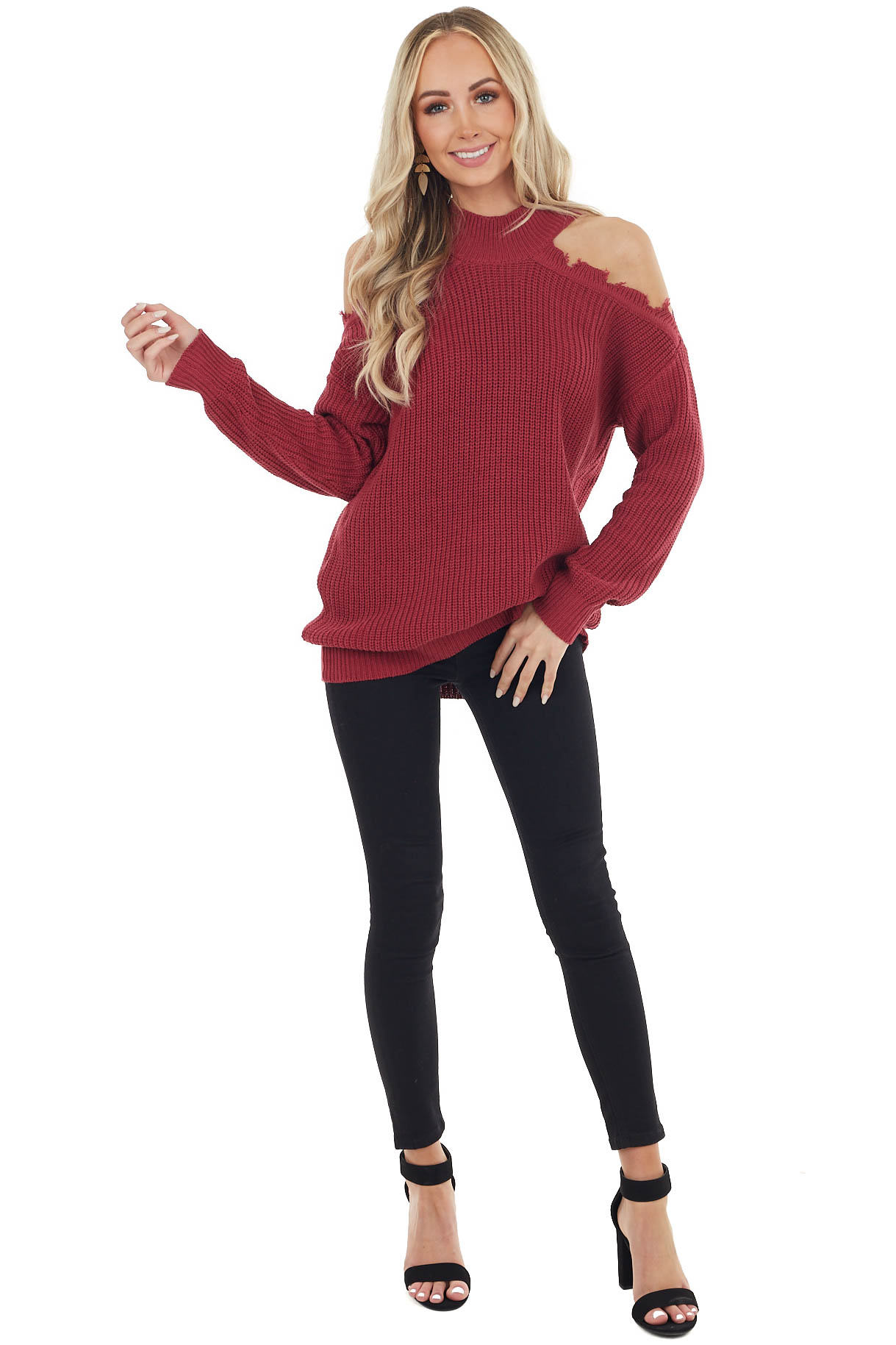 Wine Stretchy Knit Distressed Cold Shoulder Sweater