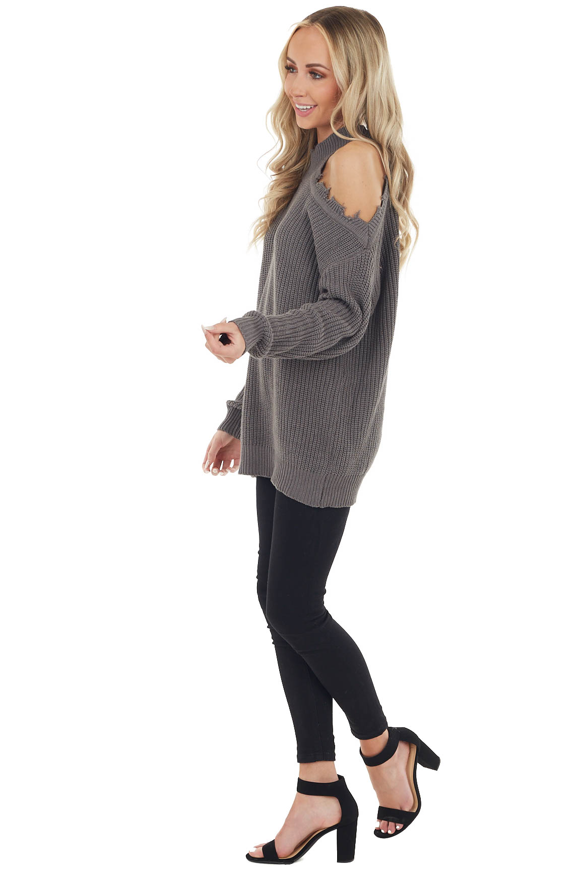 Charcoal Stretchy Knit Distressed Cold Shoulder Sweater