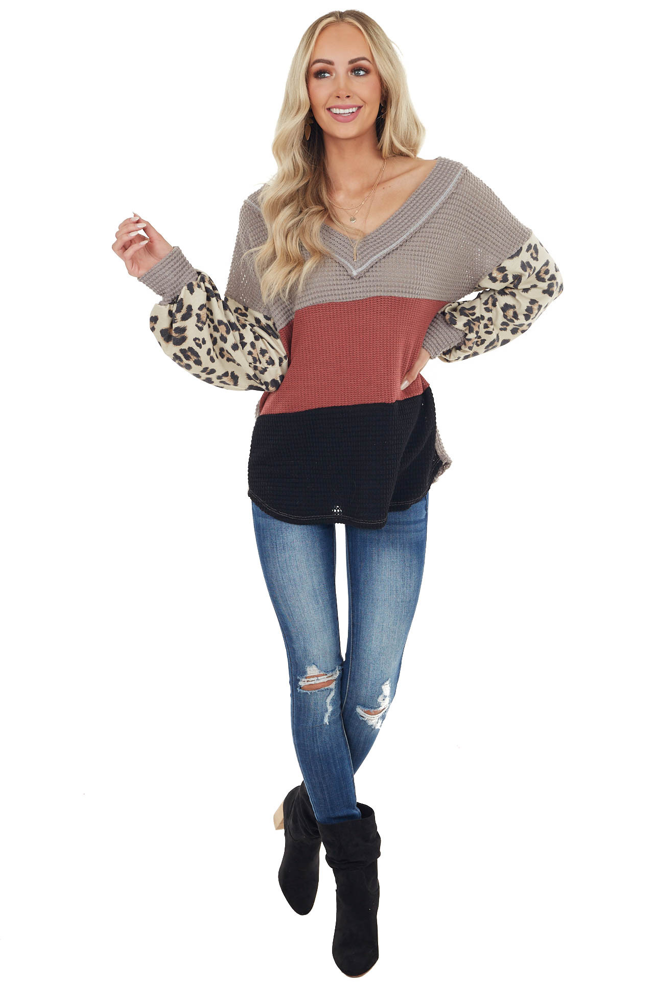 Marsala Colorblock Top with Contrast Leopard Print Sleeves