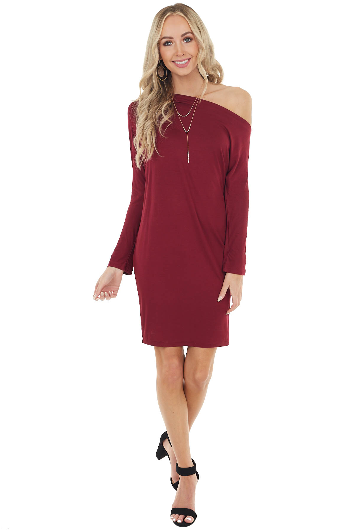Wine Off the Shoulder Long Sleeve Semi Fitted Short Dress