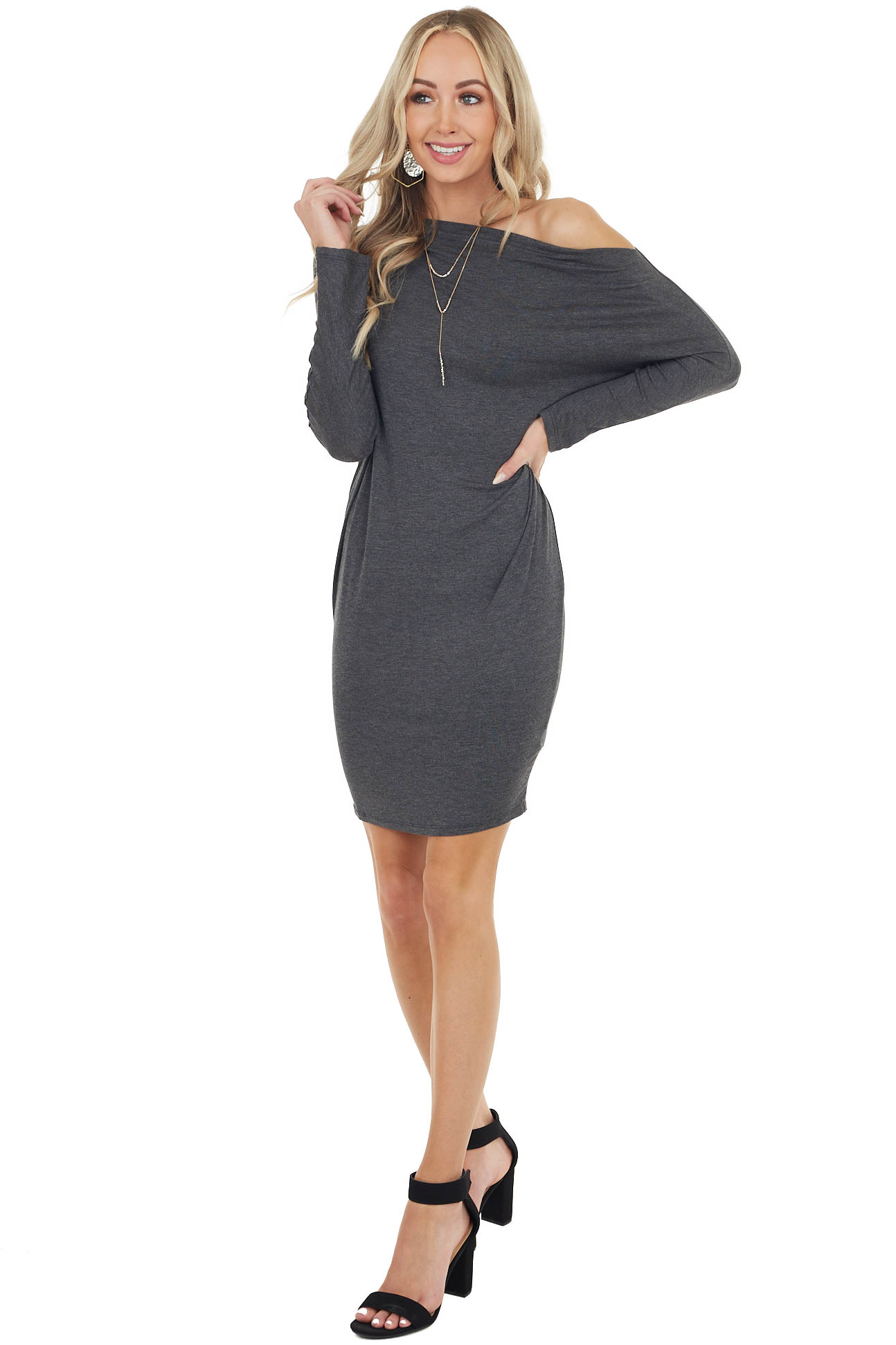 Charcoal Off Shoulder Long Sleeve Semi Fitted Short Dress