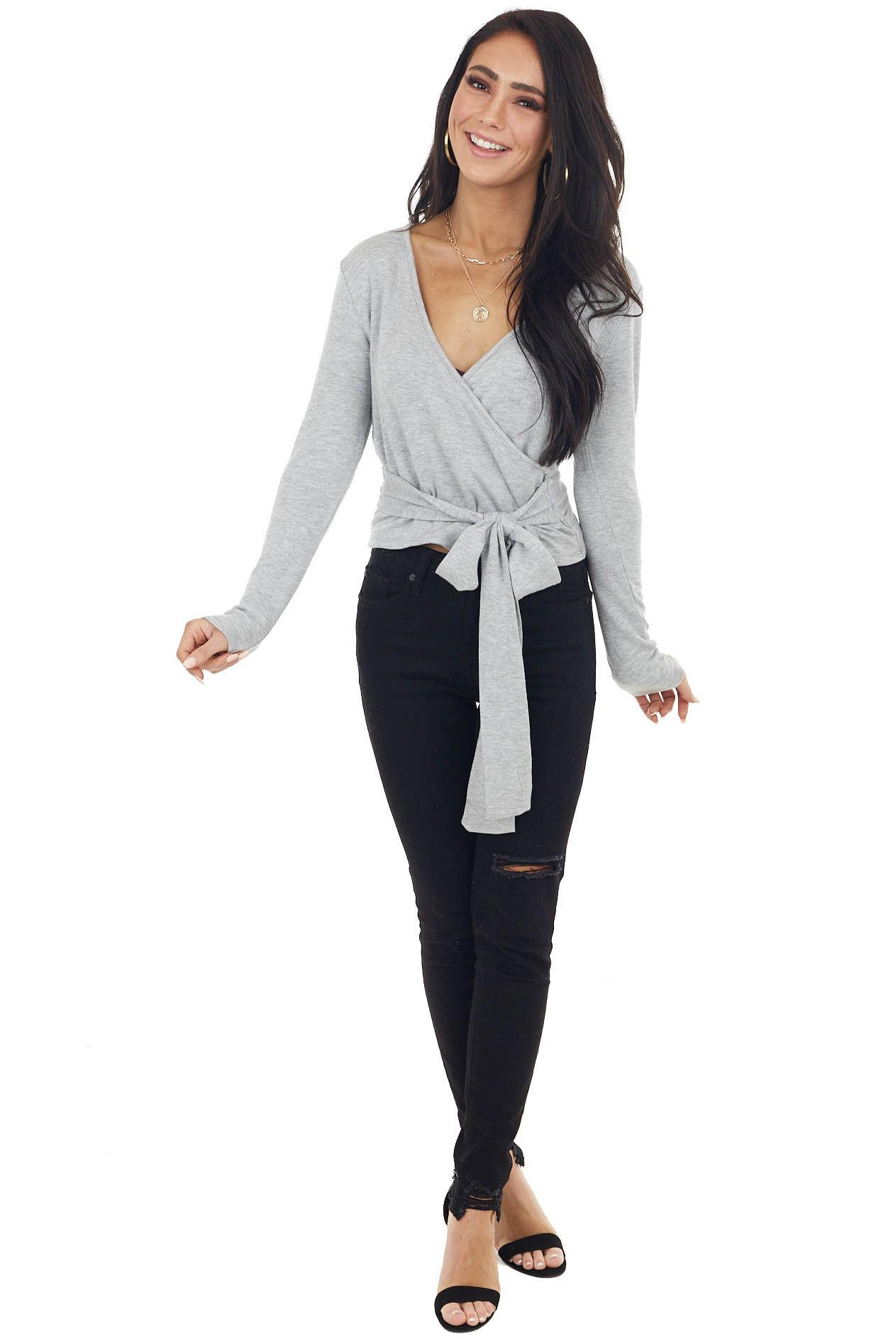 Heathered Grey V Neck Long Sleeve Surplice Top with Wrap
