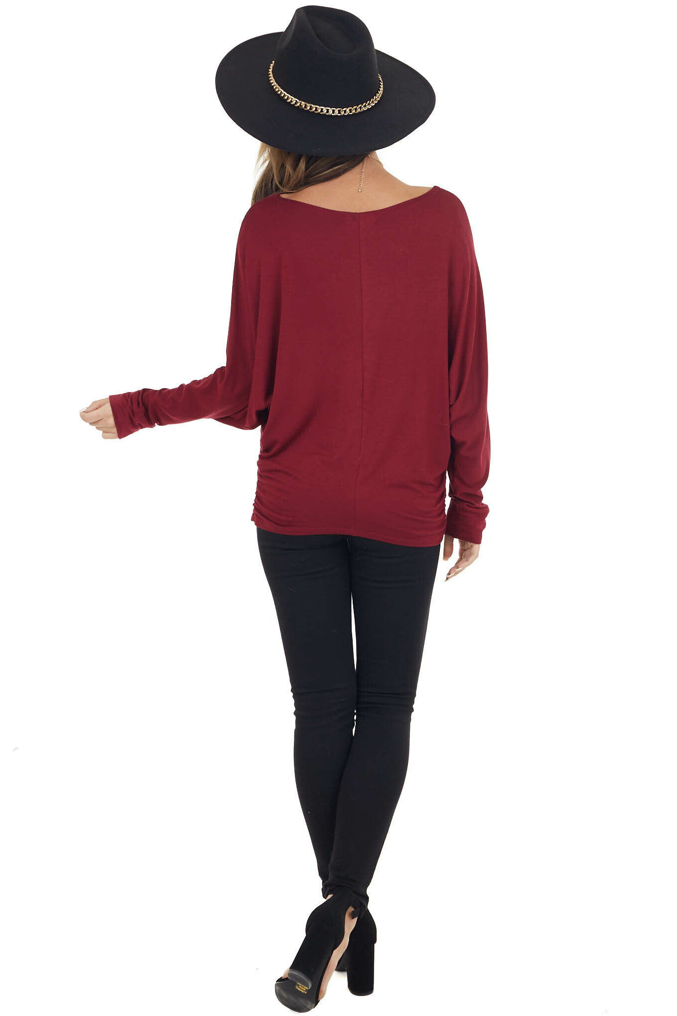 Wine Dolman Sleeve Stretchy Knit Top with Banded Cuffs