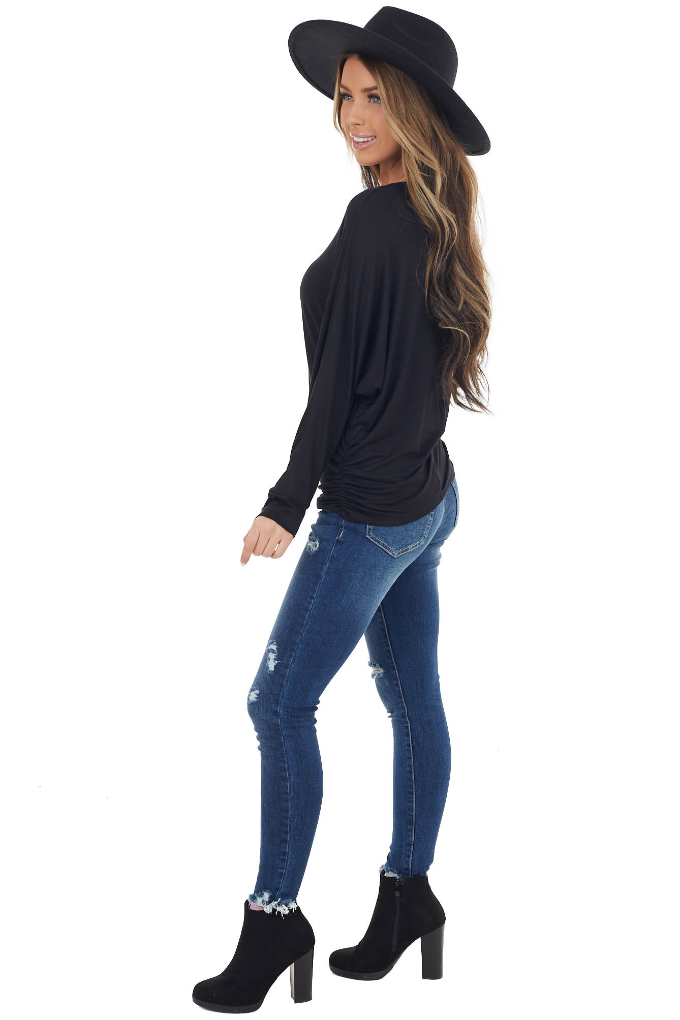 Black Dolman Sleeve Stretchy Knit Top with Banded Cuffs