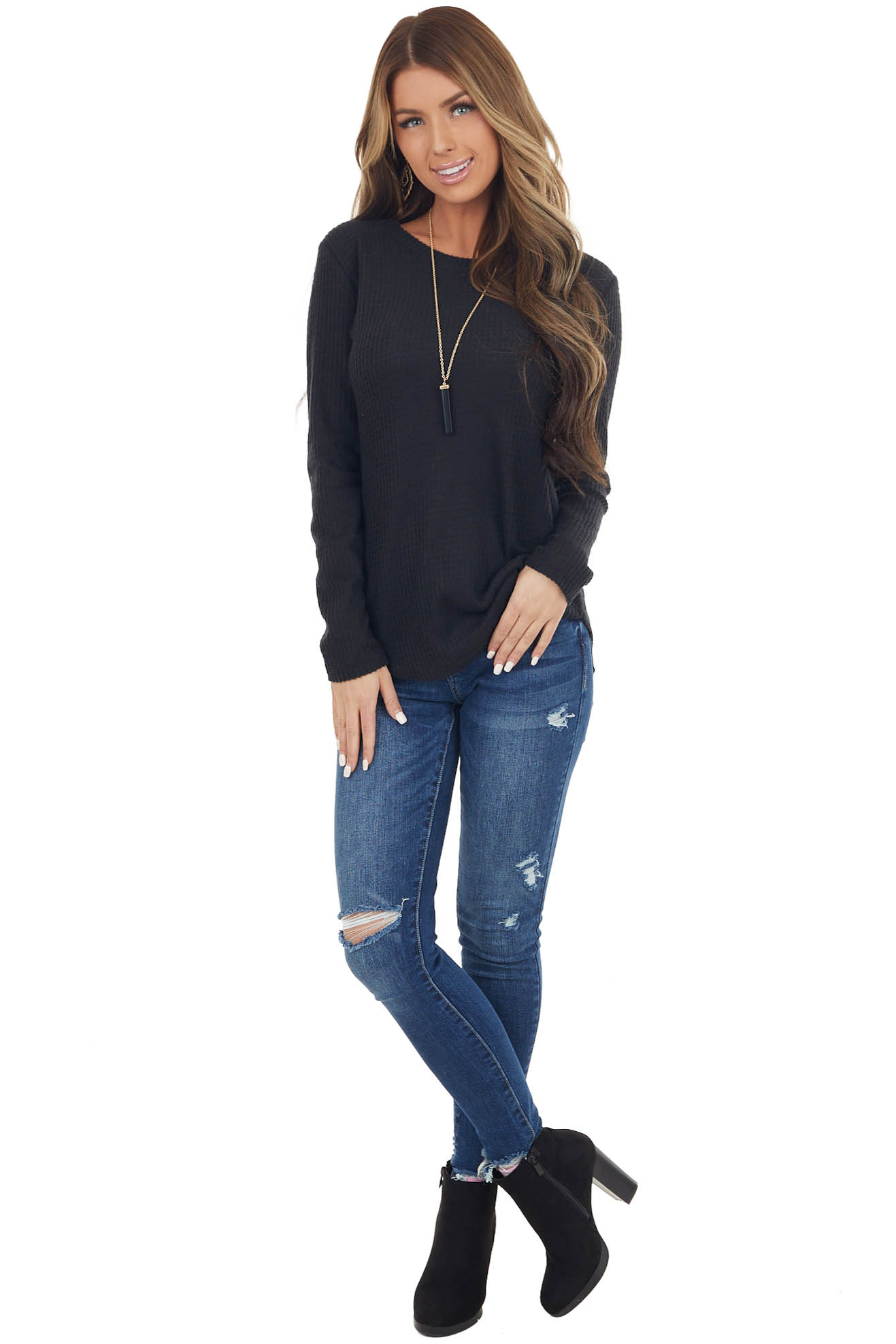 Black Soft Waffle Knit Long Sleeve Top with Rounded Hemline
