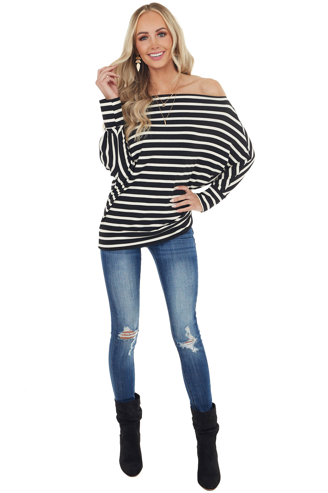 Black Striped Off the Shoulder Long Dolman Sleeve Knit Top
