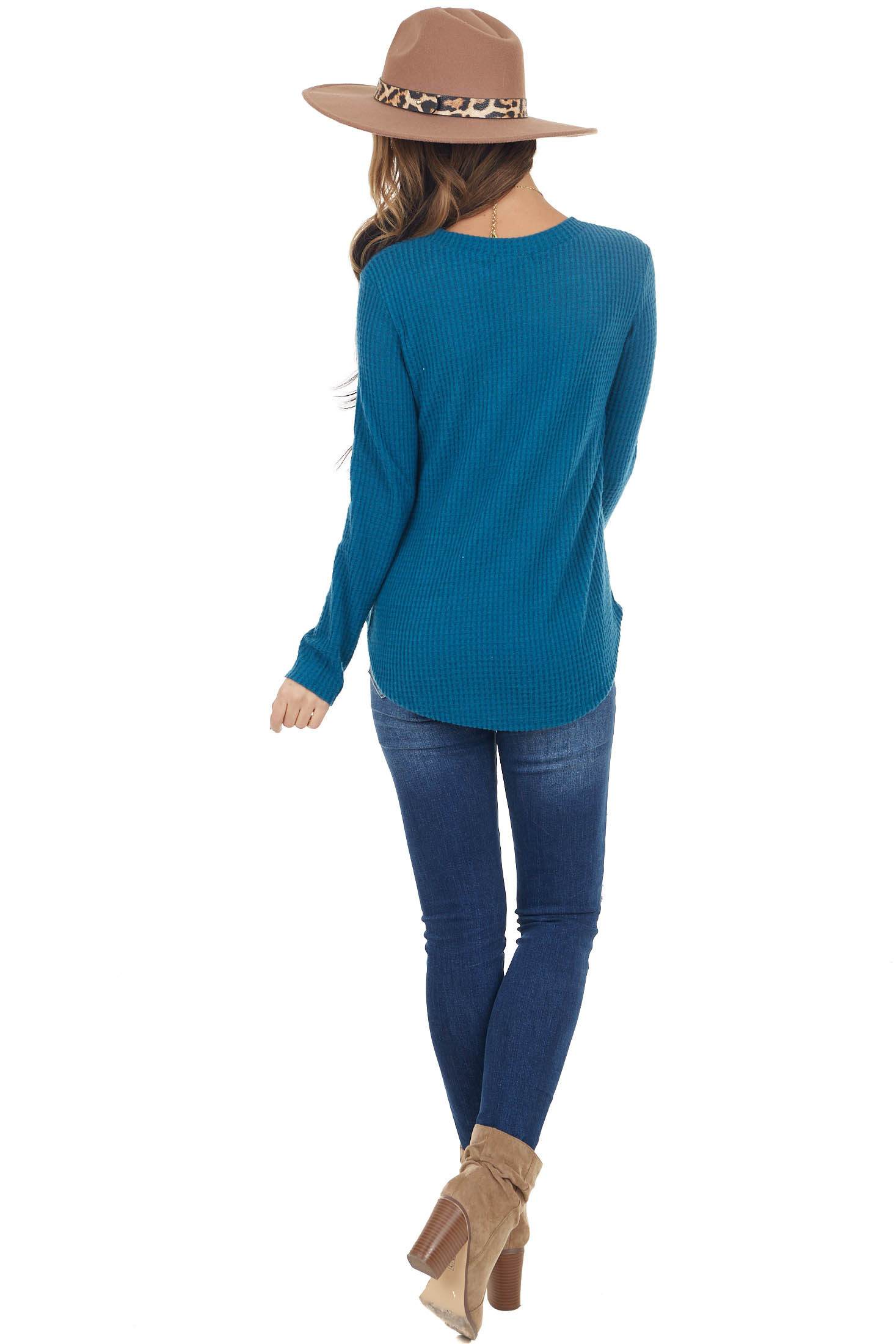Dark Teal Waffle Knit Long Sleeve Top with Rounded Hemline