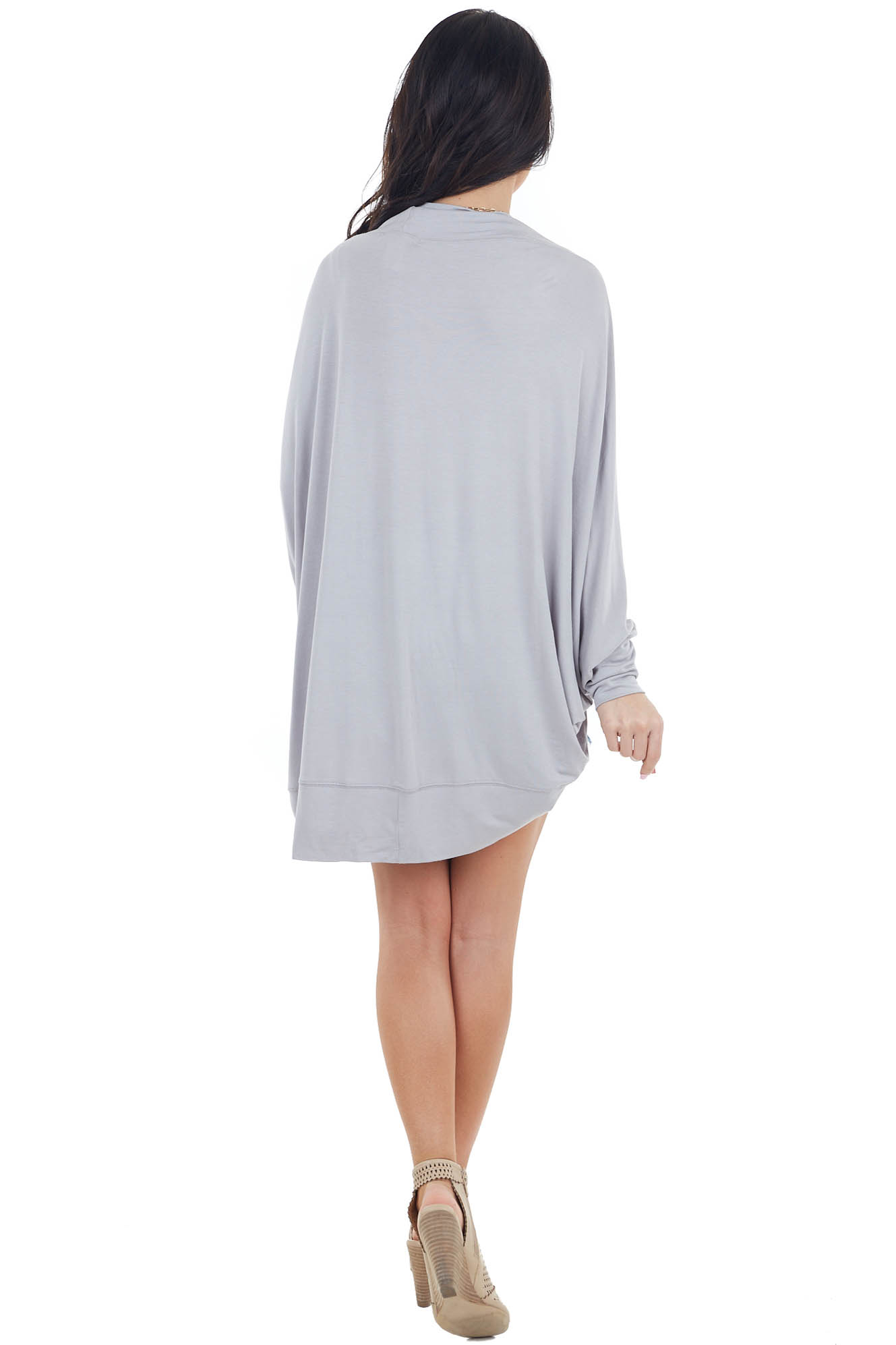 Grey Open Front Cocoon Cardigan with Long Dolman Sleeves