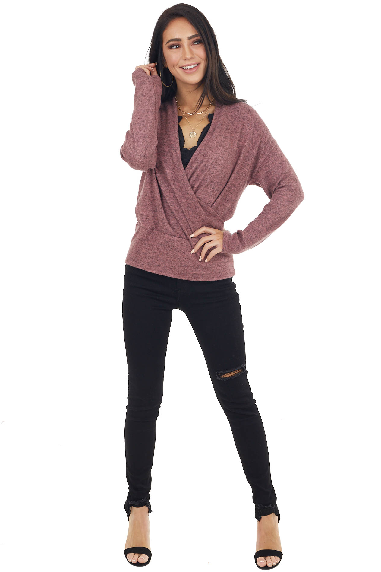 Heathered Mauve Wrapped Surplice Long Sleeve Knit Top