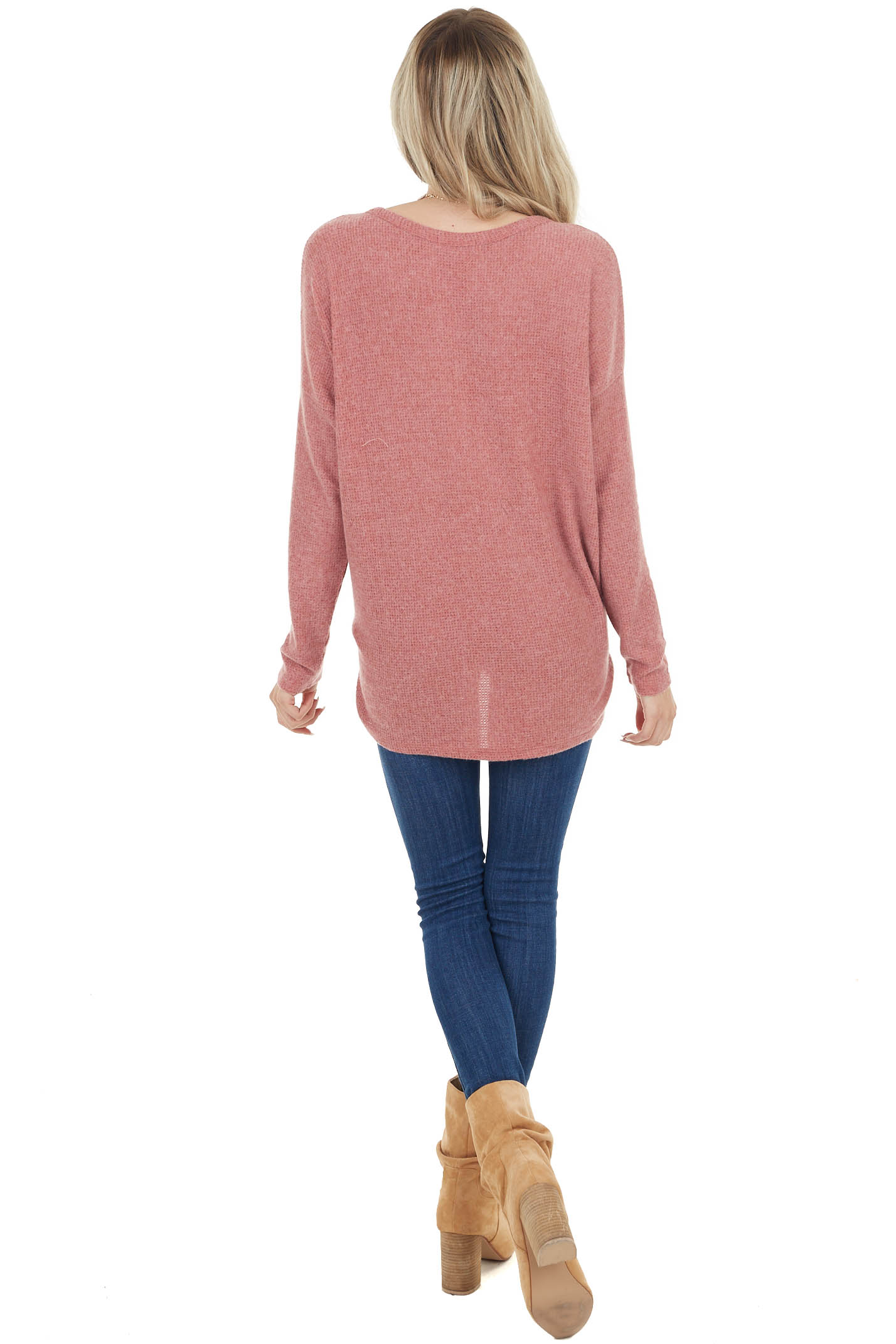 Marsala Soft Waffle Knit Long Sleeve Button Up Top with Tie
