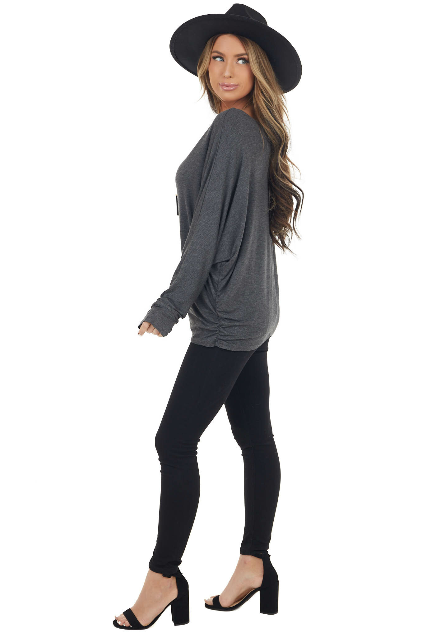 Stormy Dolman Sleeve Stretchy Knit Top with Banded Cuffs