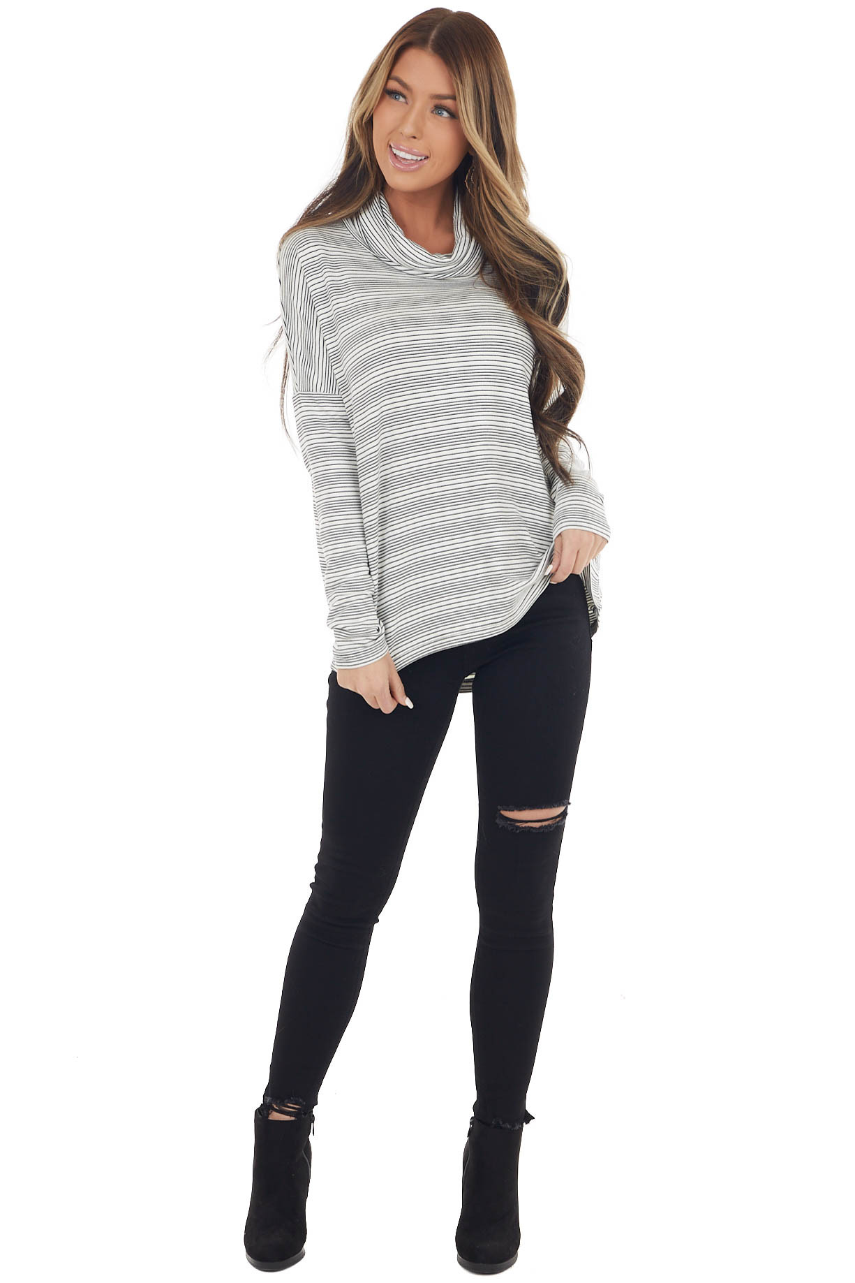 Black and Ivory Striped Oversized Long Sleeve Cowl Neck Top