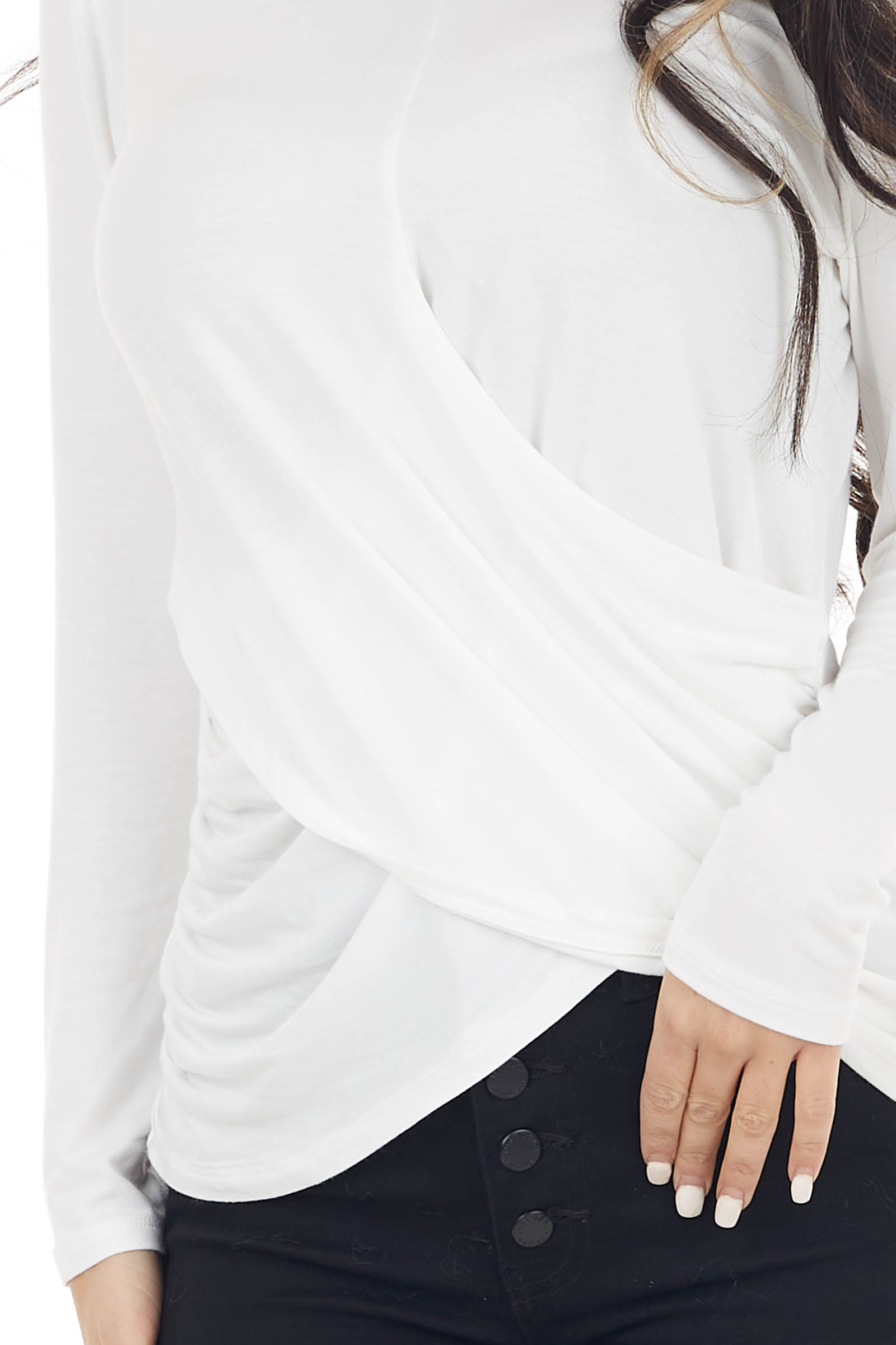 Off White High Low Draped Knit Top with Round Neckline