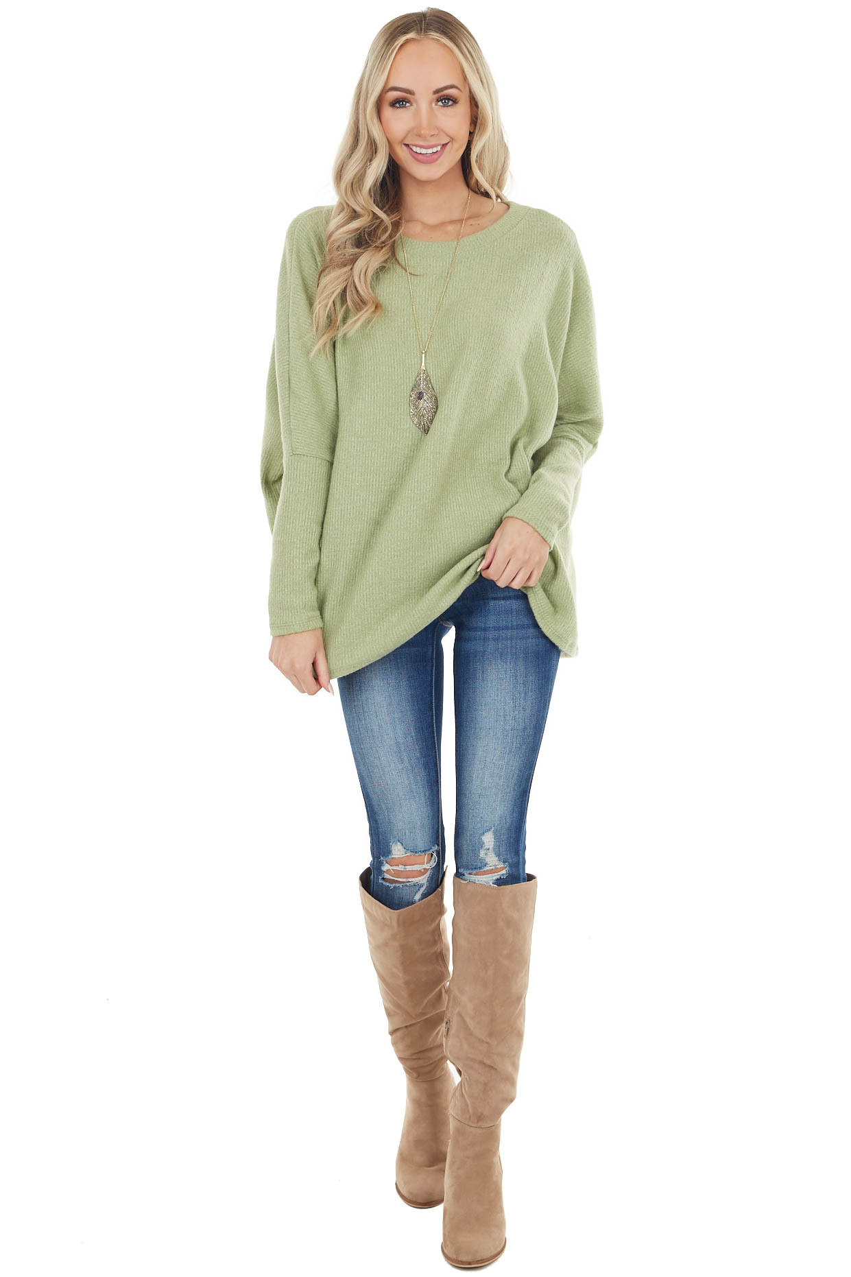 Pistachio Long Sleeve Brushed Ribbed Oversized Knit Top