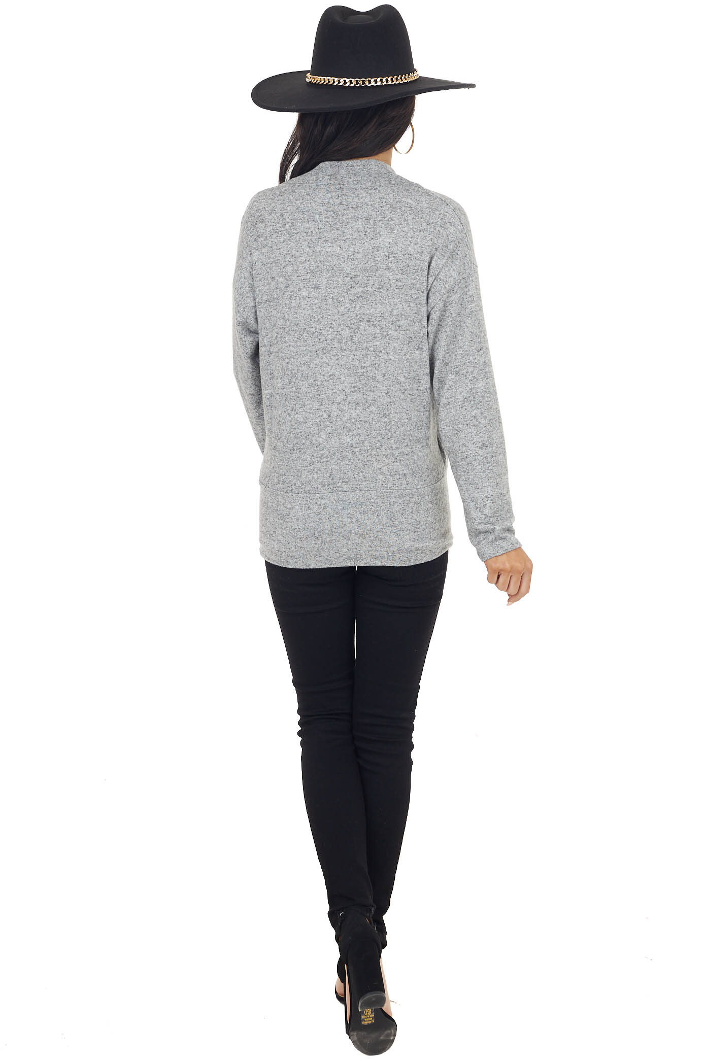 Heathered Dove Wrapped Surplice Long Sleeve Knit Top