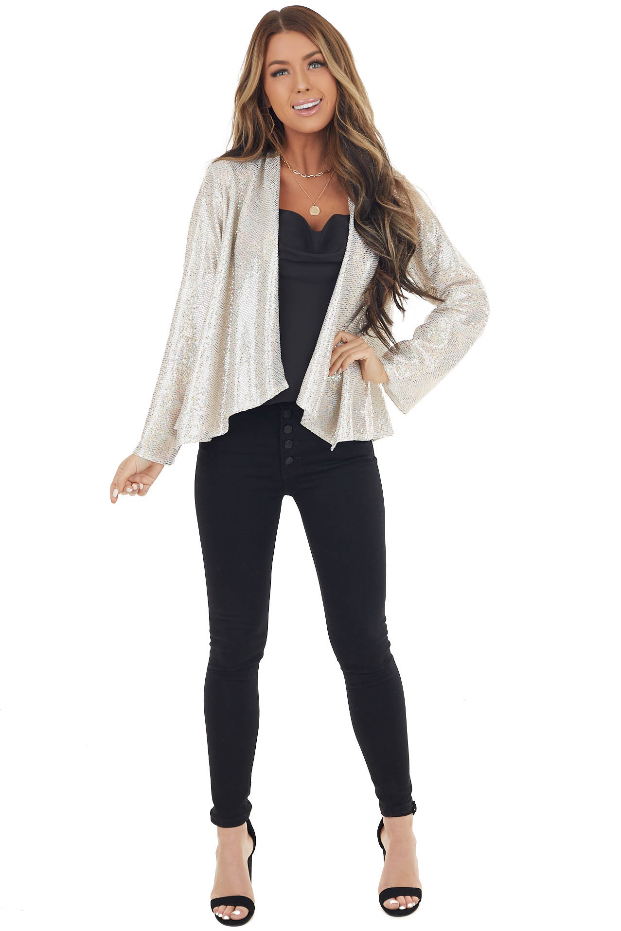 Off White Long Sleeve Blazer with Cream Sequins