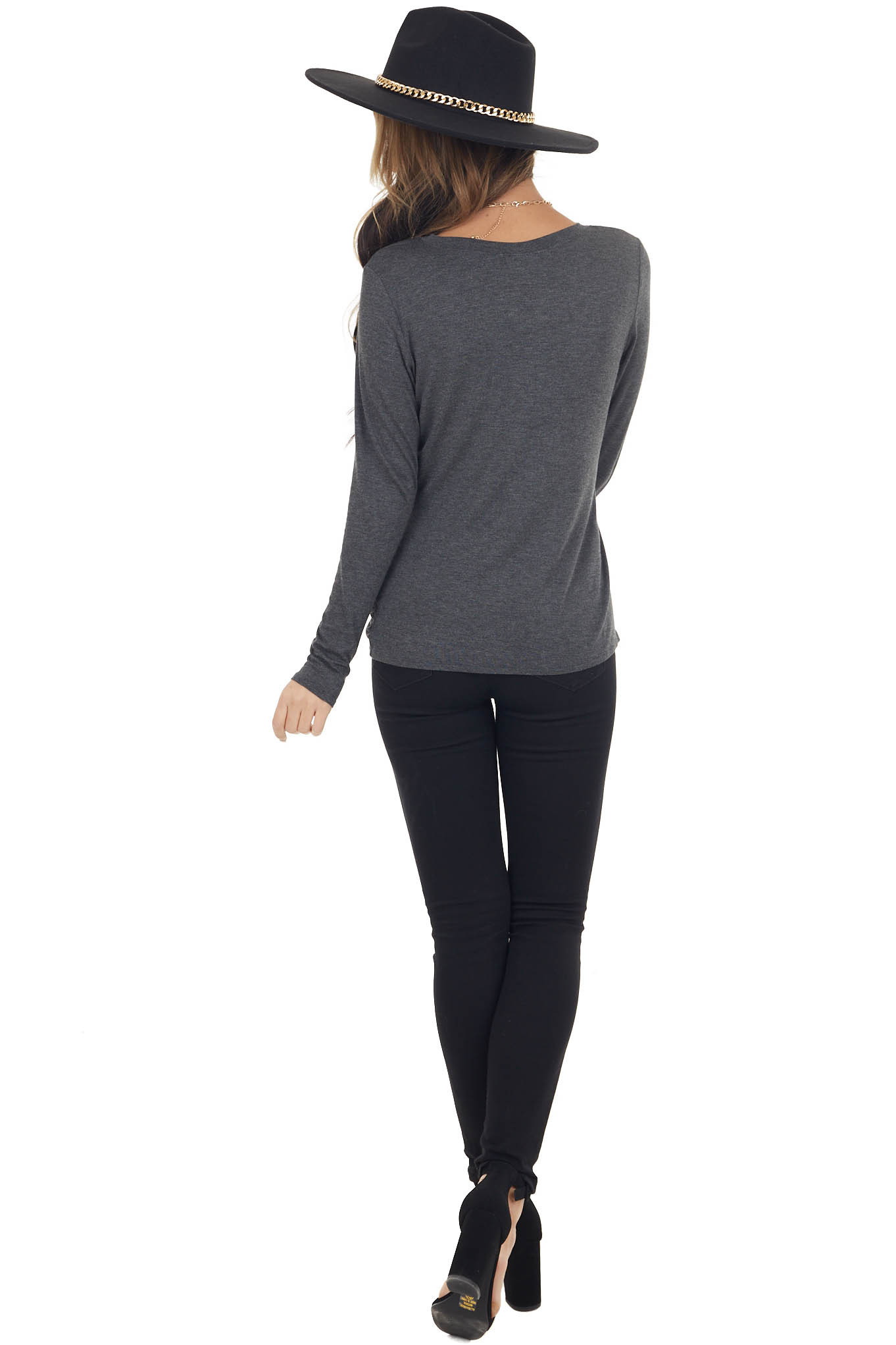 Charcoal High Low Draped Knit Top with Round Neckline