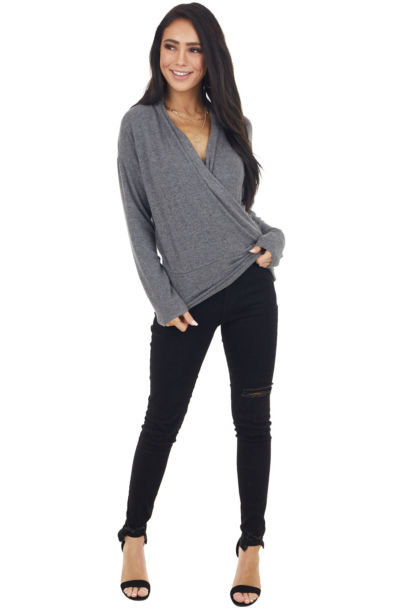 Heathered Charcoal Wrapped Surplice Long Sleeve Knit Top