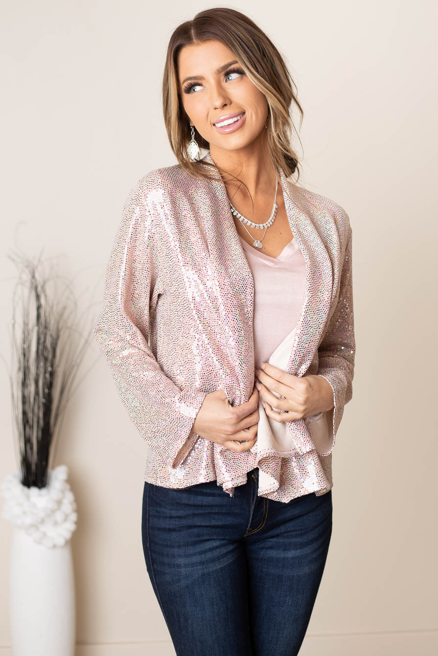 Dusty Blush Long Sleeve Blazer with Pink Sequins