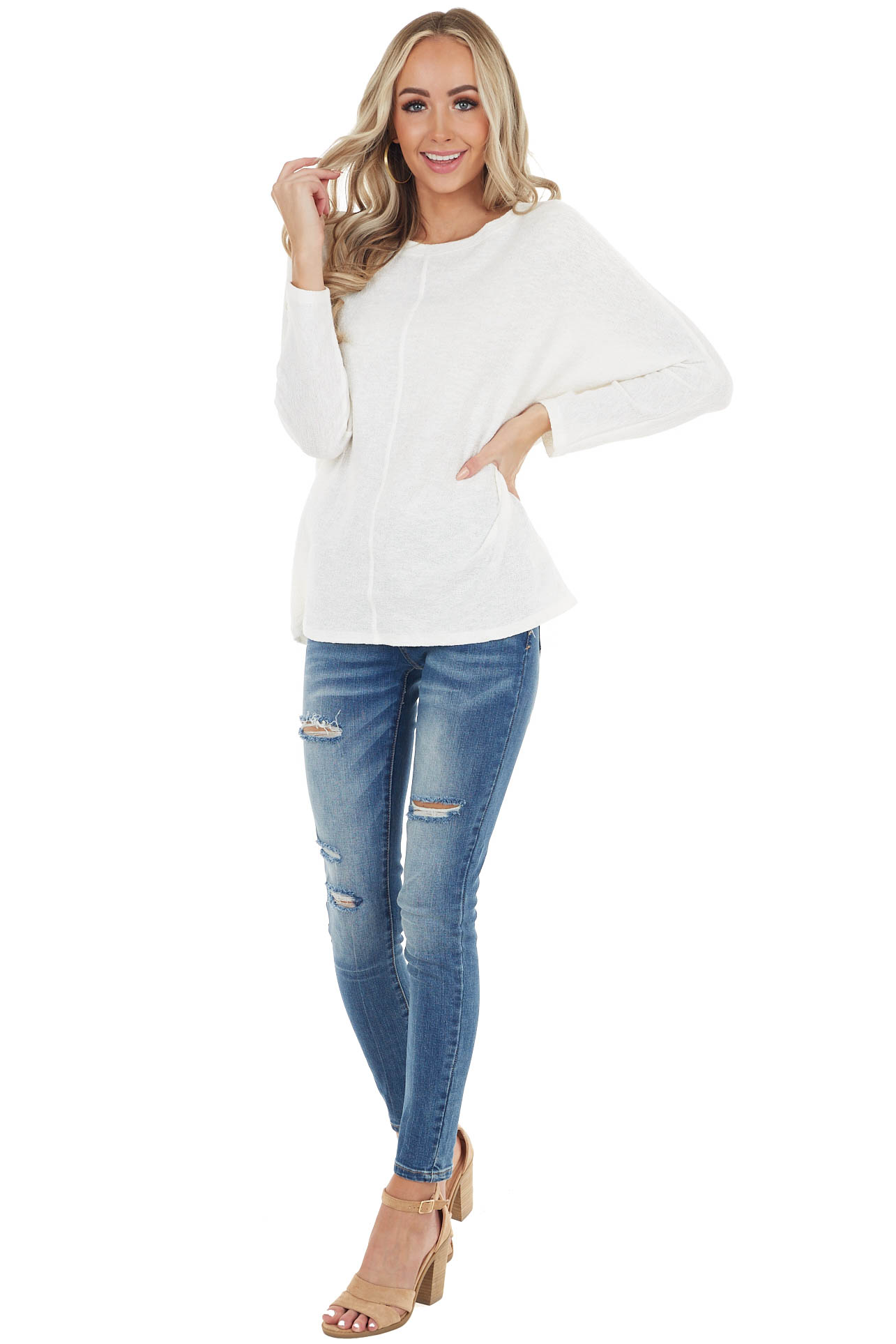 Ivory Stretchy Textured Knit Top with 3/4 Dolman Sleeves