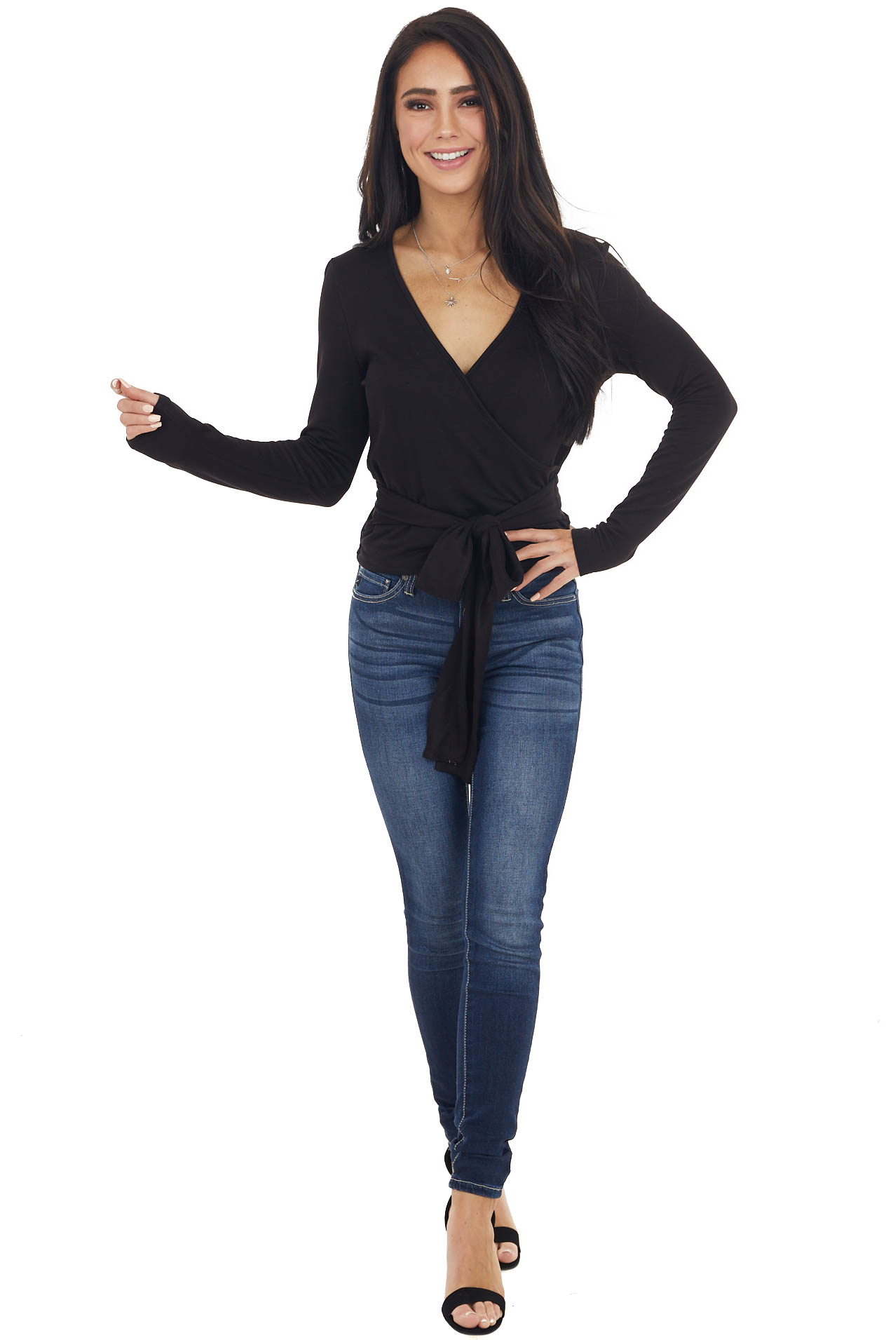 Black V Neck Long Sleeve Surplice Top with Wrap