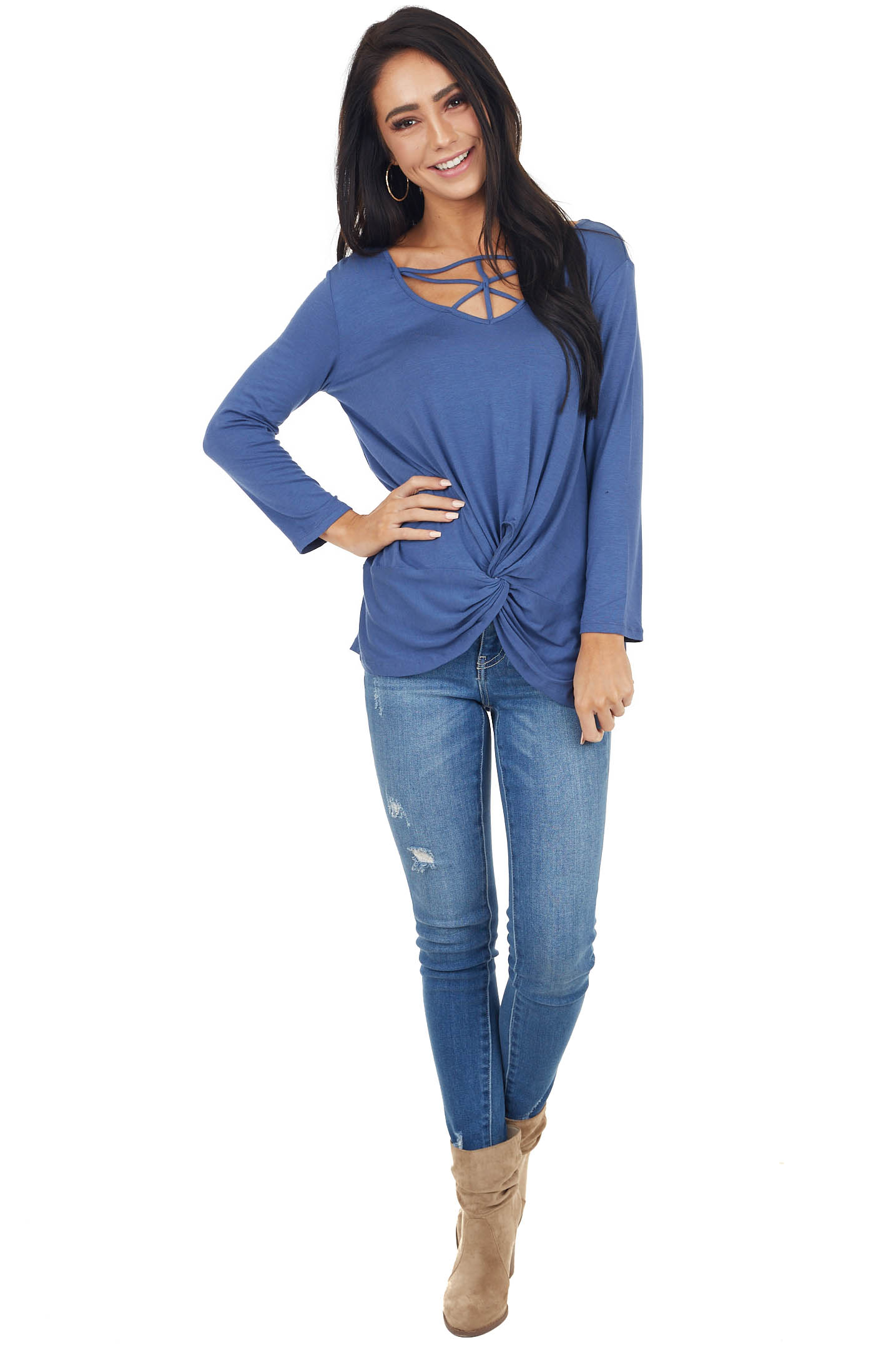 Dusty Blue 3/4 Sleeve Top with Caged Neckline Detail
