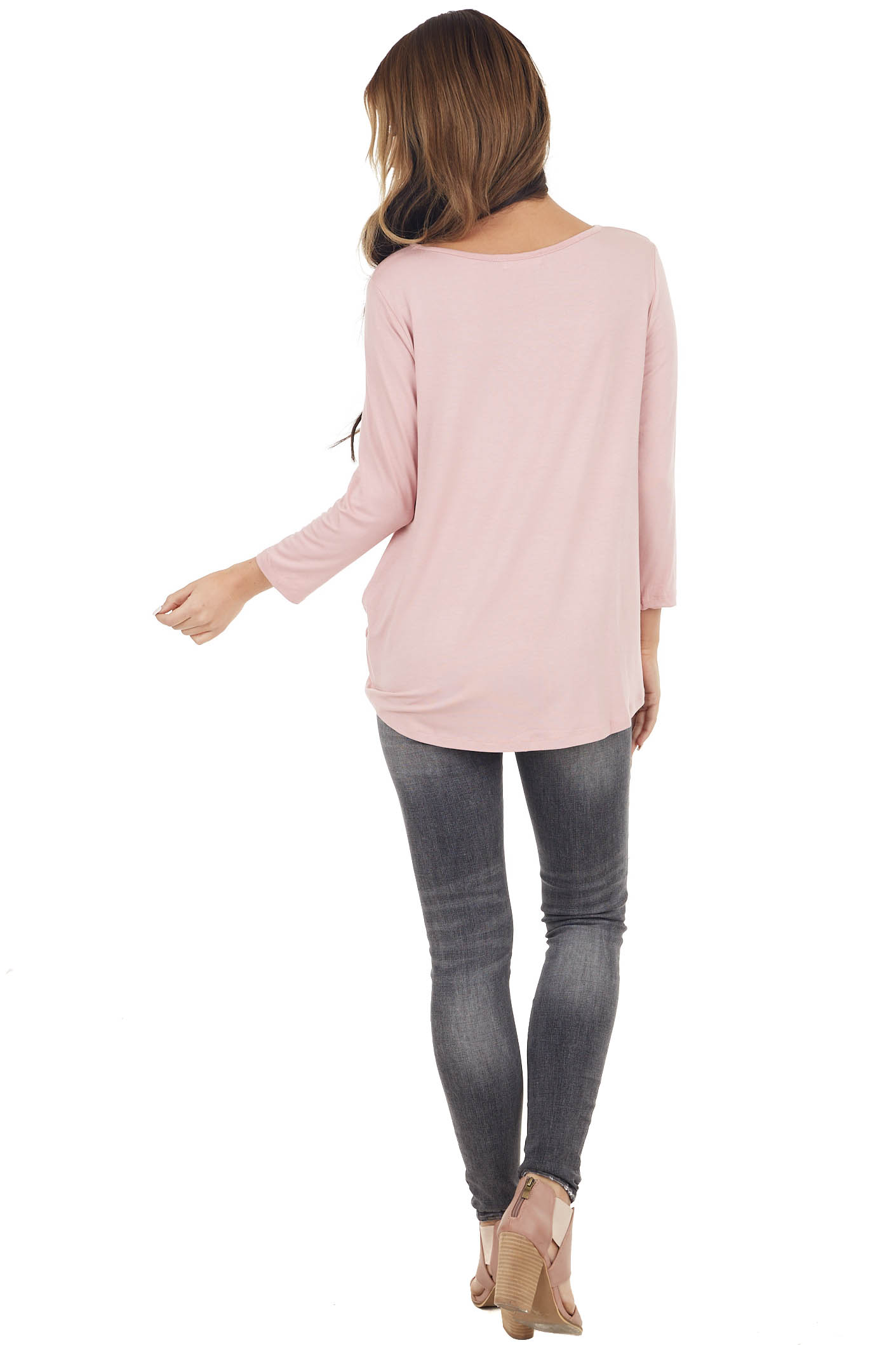 Dusty Blush 3/4 Sleeve Top with Caged Neckline Detail