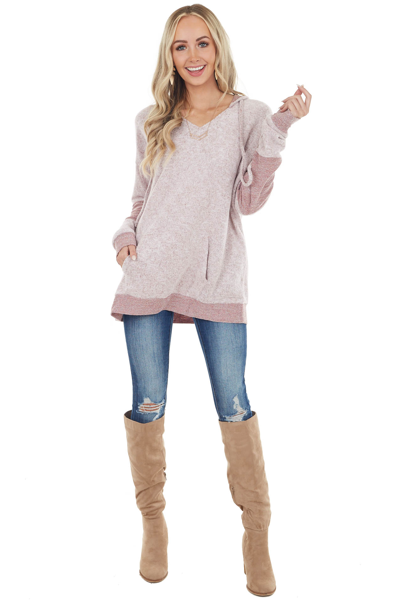 Maroon and White Two Toned Long Colorblock Sleeve Hoodie