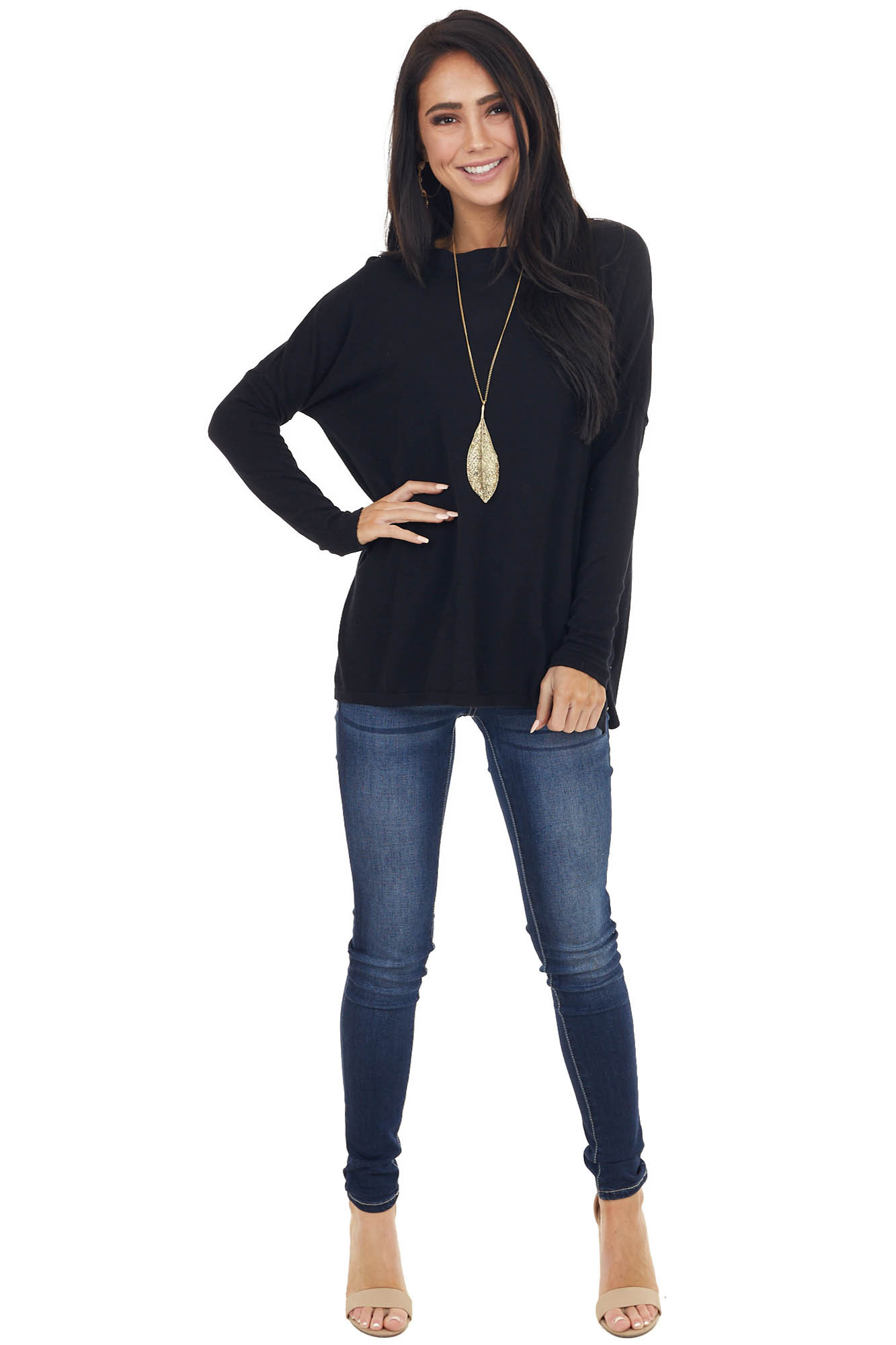 Black Round Neck Long Sleeve Knit Top with Side Slit Details