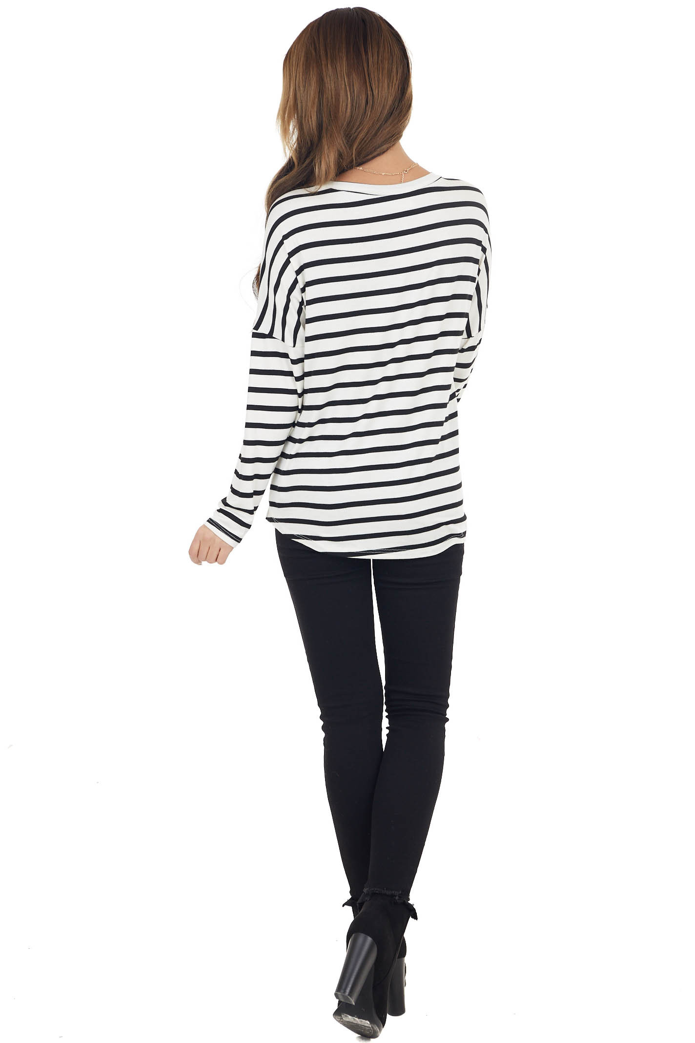 Pine and Ivory Striped Long Sleeve Top with Solid Front