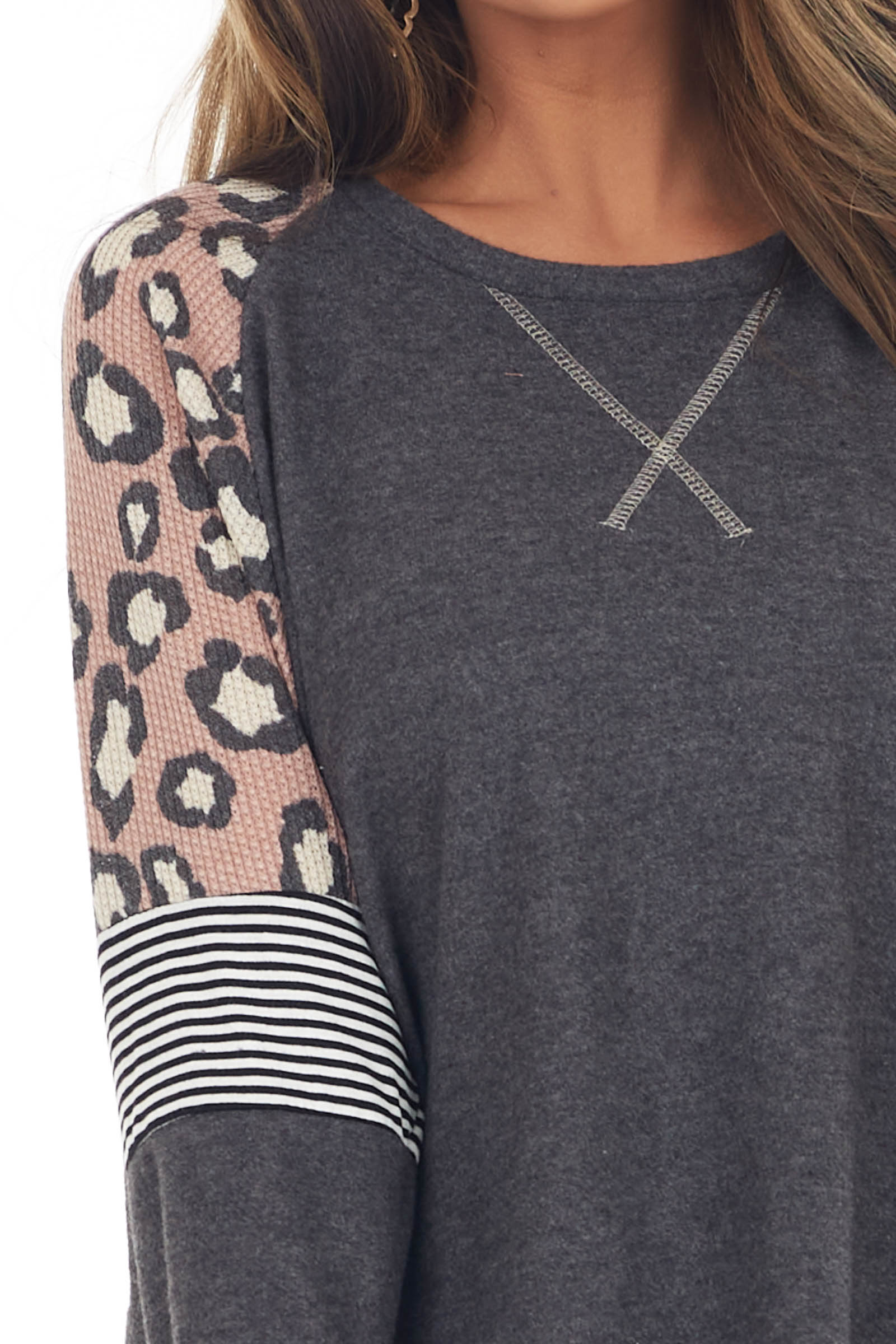 Charcoal Brushed Knit Top with Leopard and Stripe Contrast