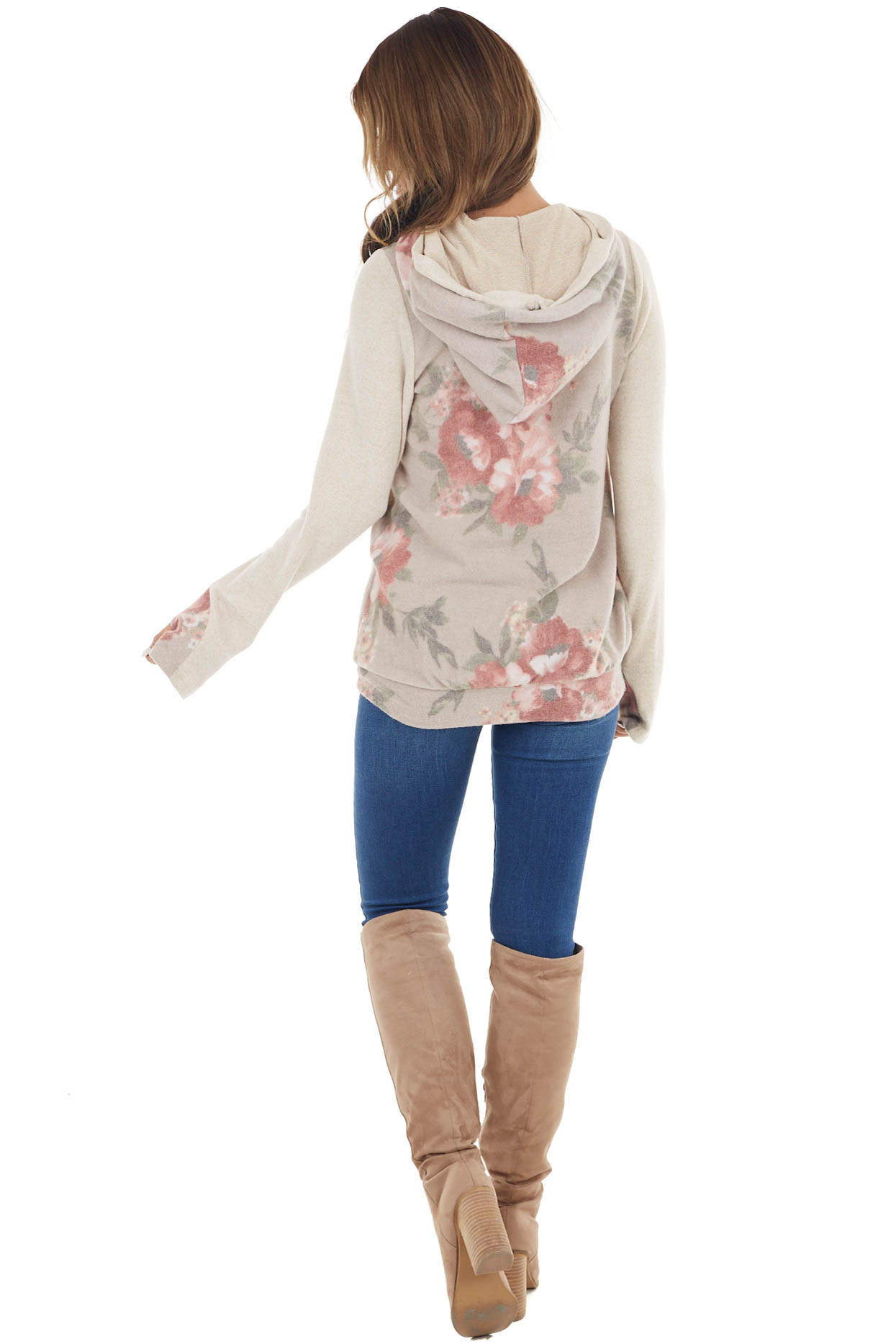 Taupe Floral Print Double Hooded Top with Contrast Sleeves