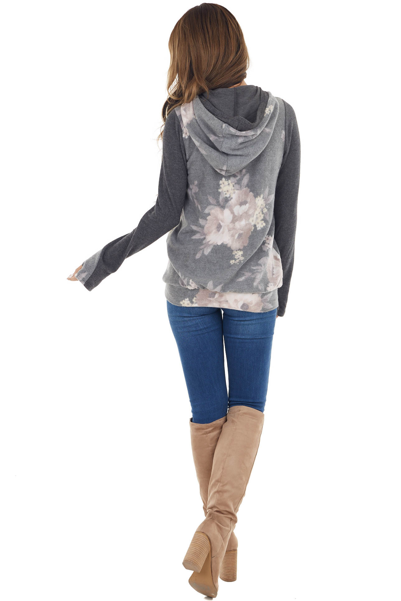 Stone Floral Print Double Hooded Top with Contrast Sleeves