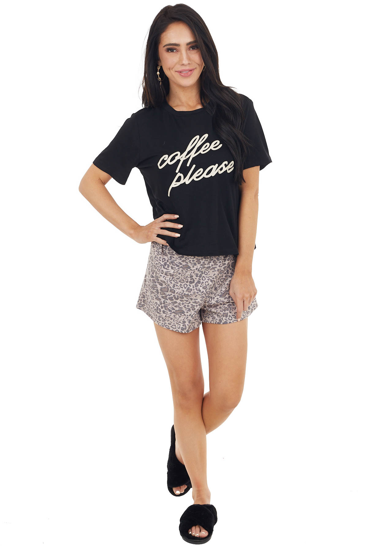 """Black """"Coffee Please"""" Graphic Crop Top and Shorts Lounge Set"""