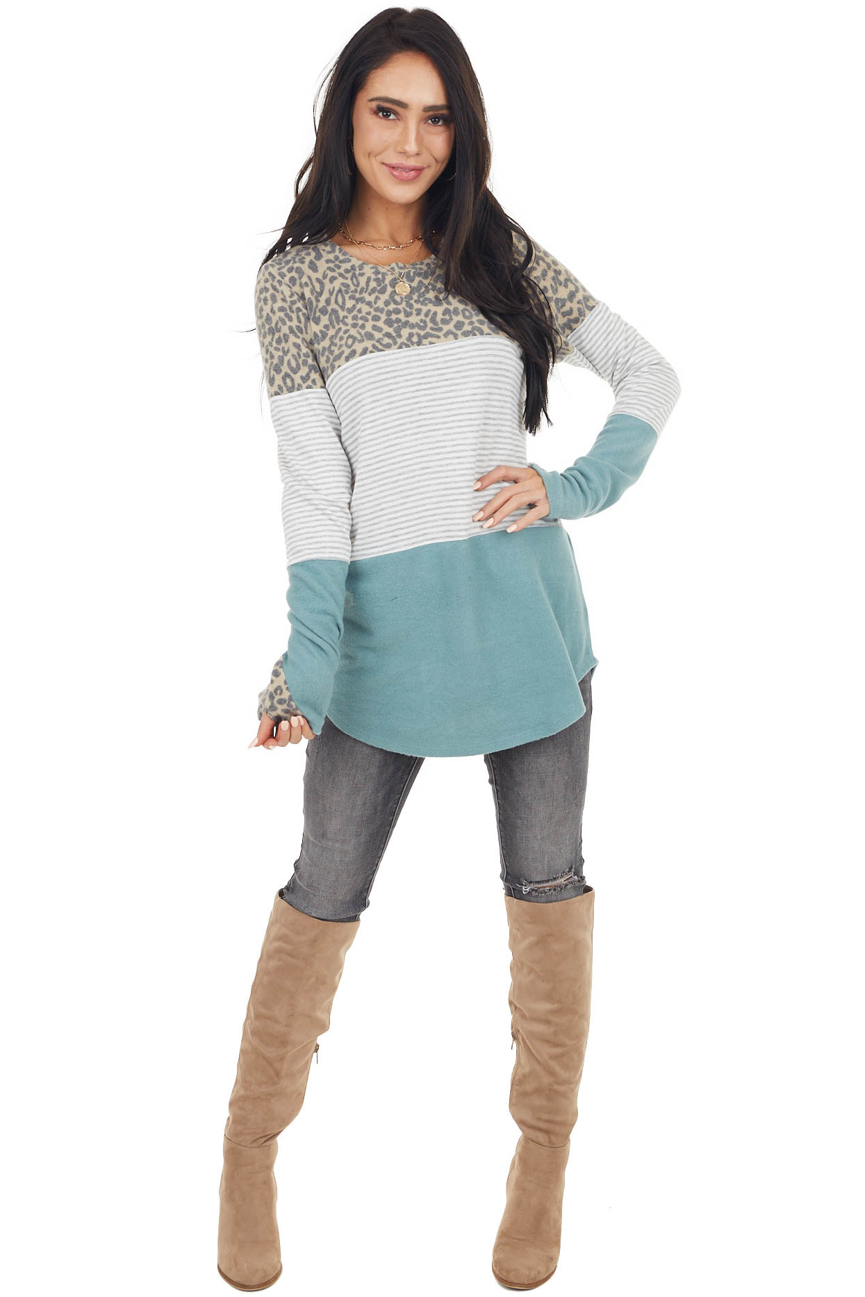 Teal and Multiprint Colorblock Stretchy Brushed Knit Top