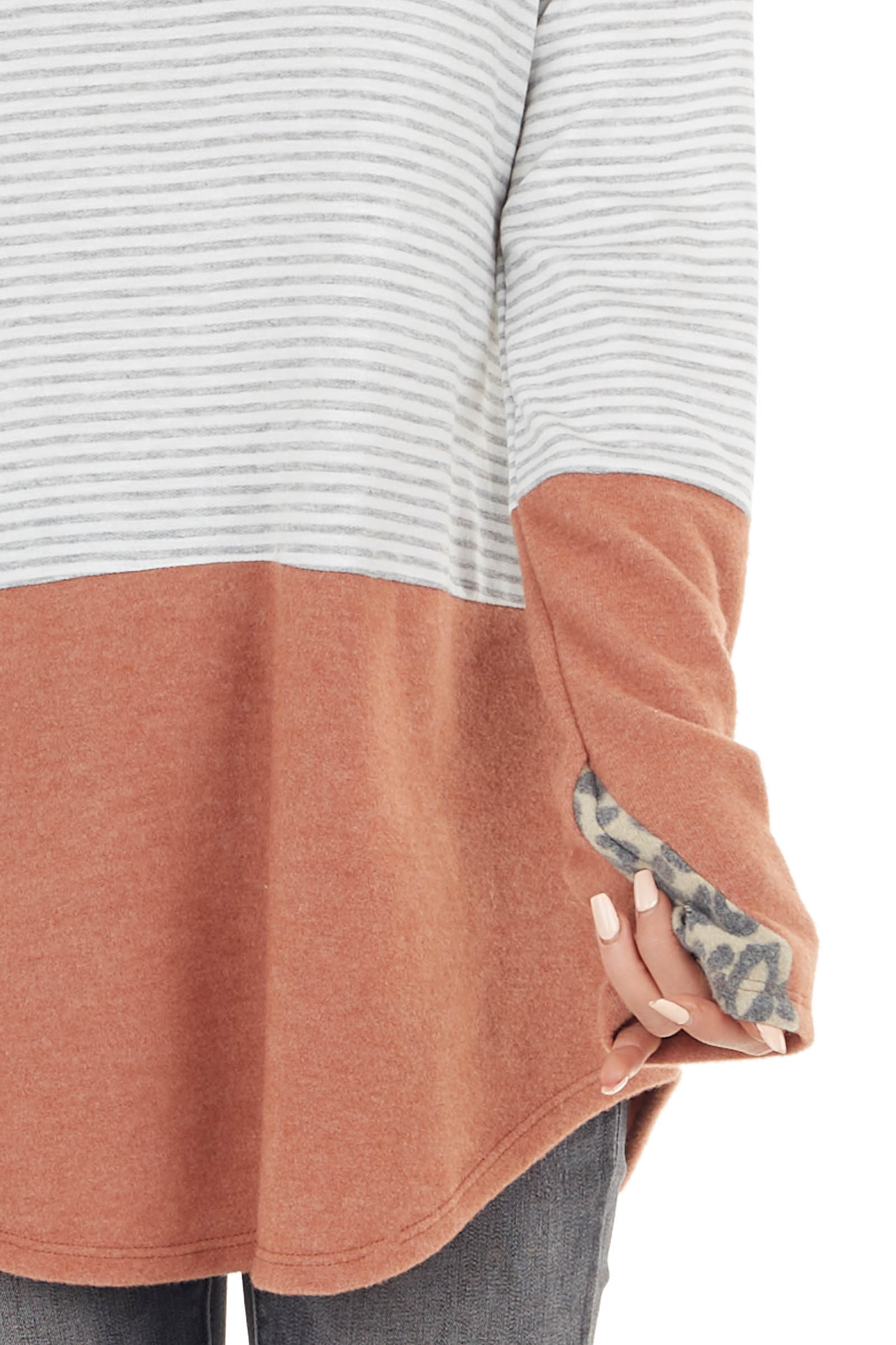 Terracotta Multiprint Colorblock Stretchy Brushed Knit Top