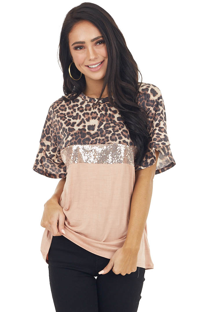 Dusty Peach and Leopard Print Color Block Top with Sequins