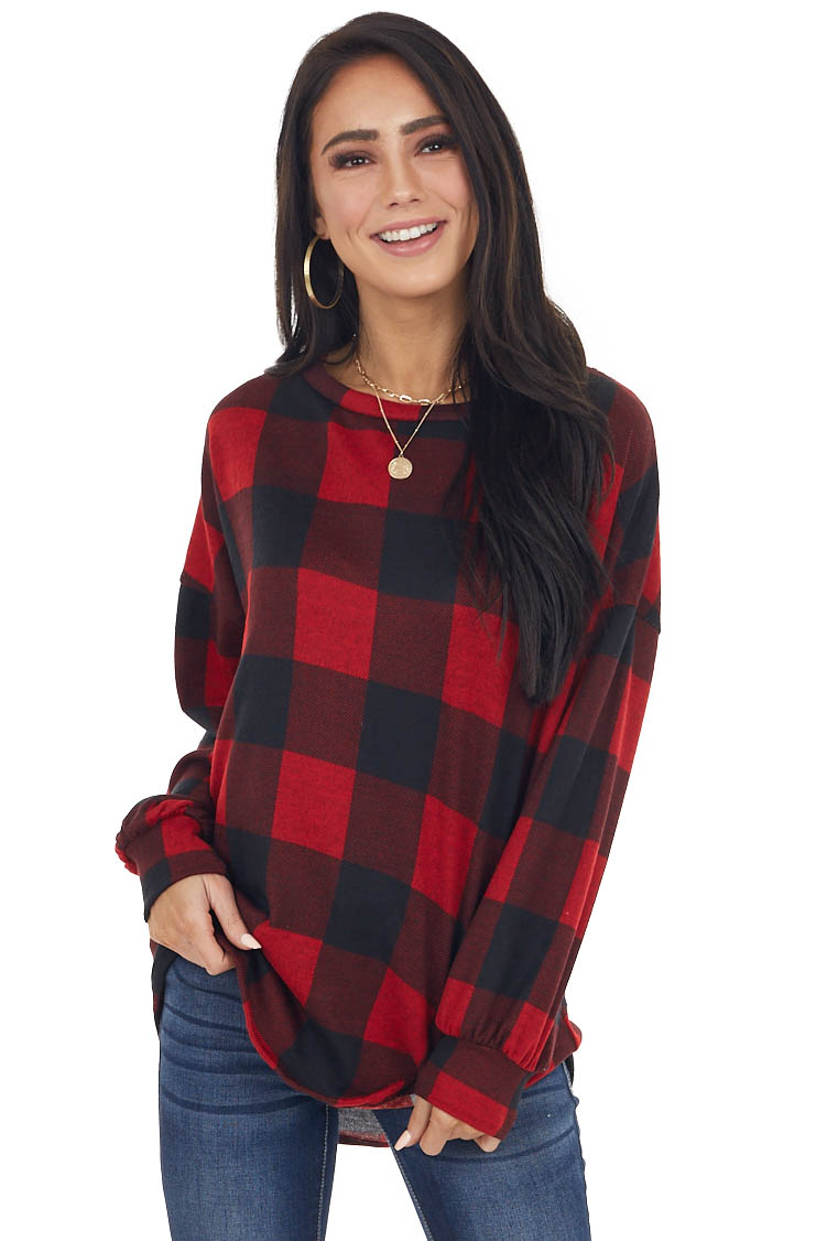 Cranberry Buffalo Plaid Long Sleeve Top with Crochet Detail