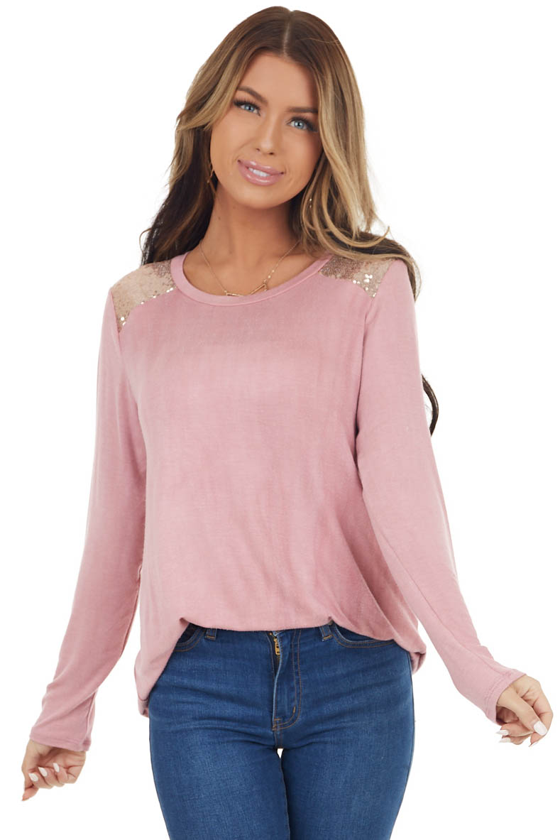Dusty Pink Long Sleeve Top with Gold Sequin Shoulders
