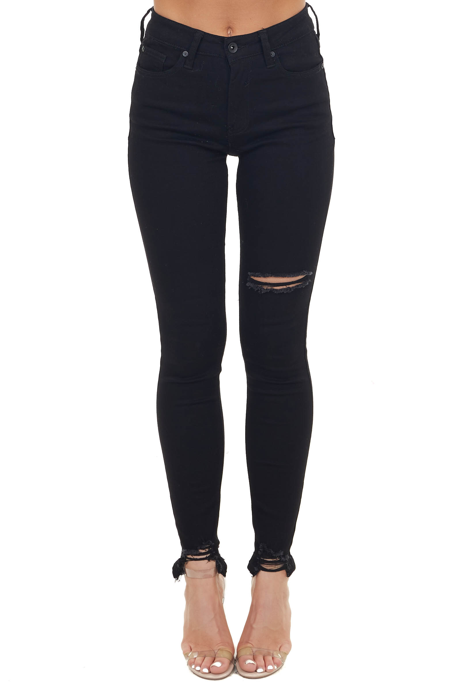 Black High Waisted Skinny Jeans with Distressed Detail