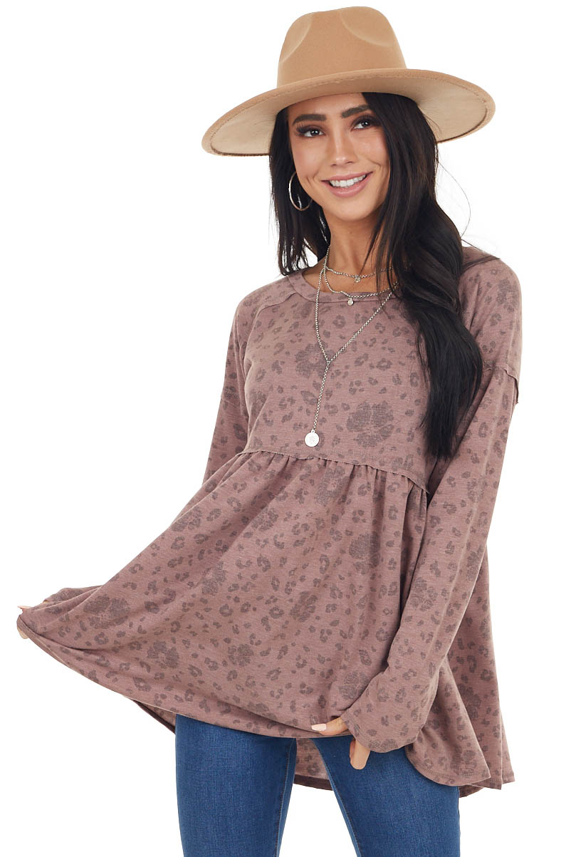 Marsala Leopard Print Babydoll Top with Long Sleeves
