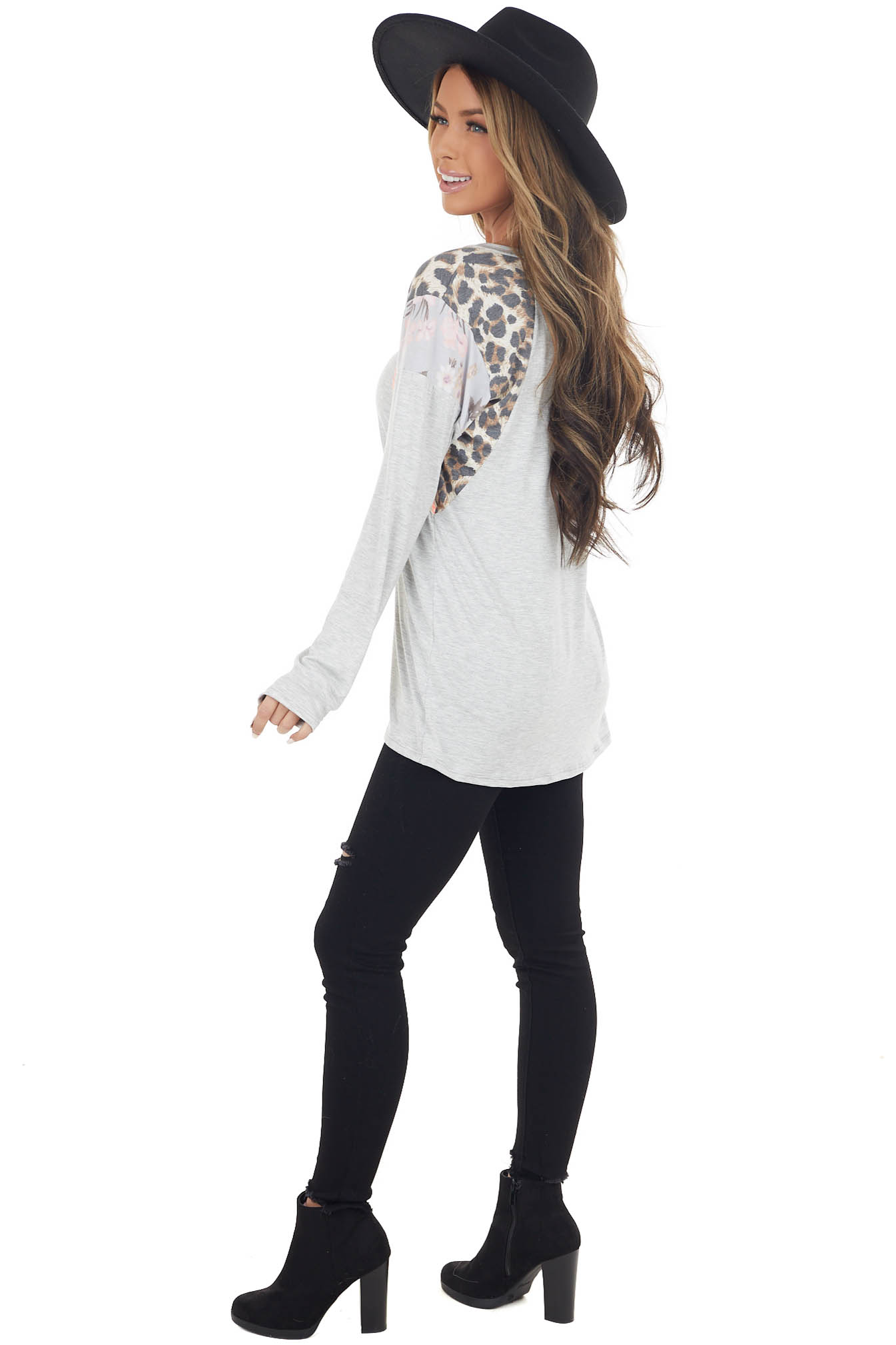 Heather Grey Stretchy Knit Top with Multiprint Shoulders