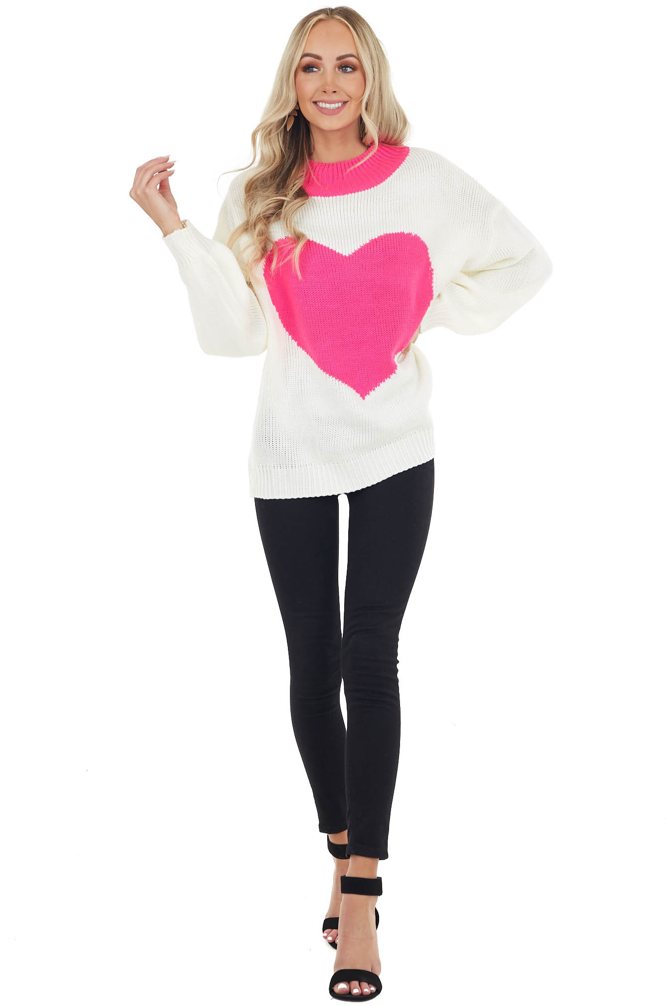 Cream Mock Neck Sweater with Hot Pink Heart Detail